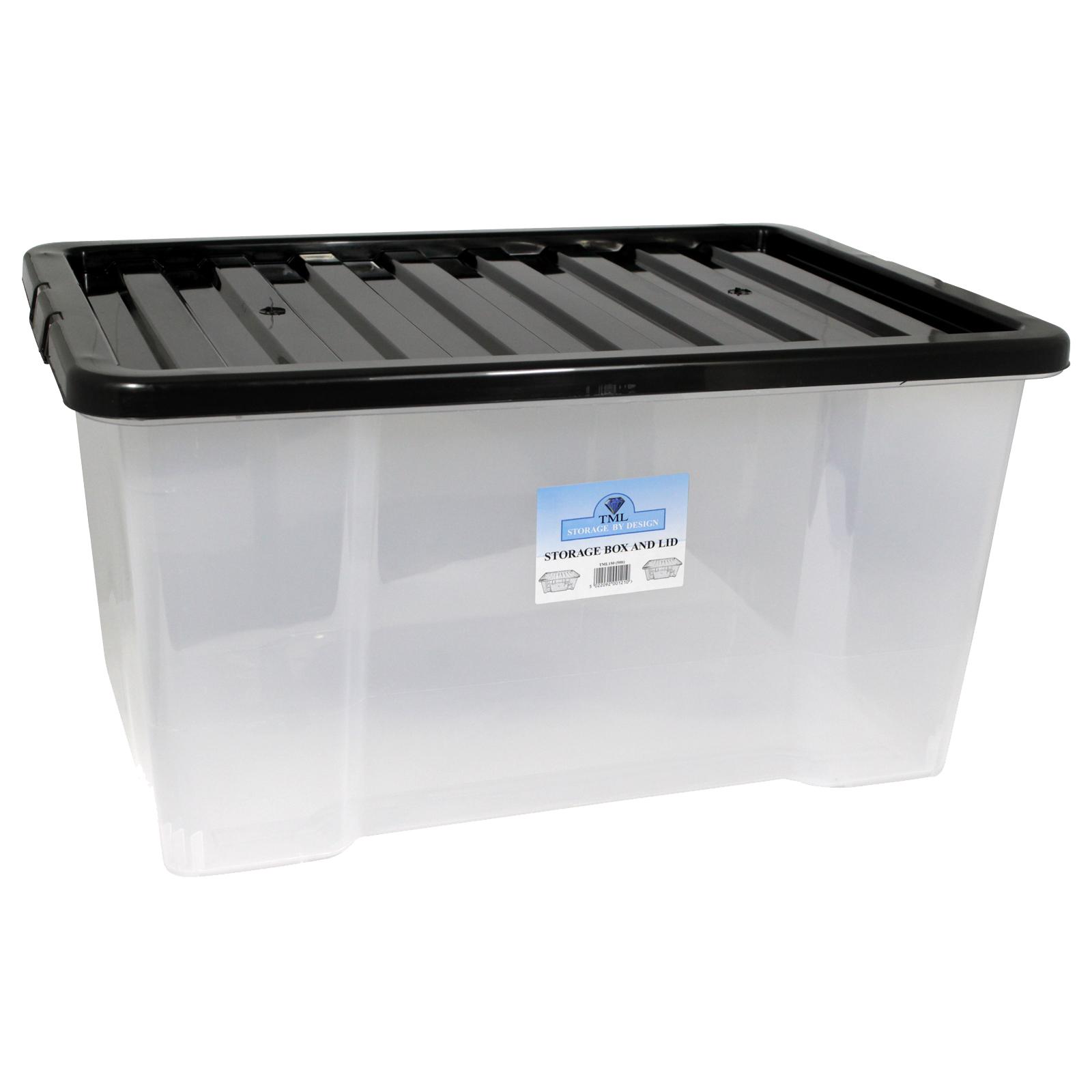 CLEAR BOX+BLACK LID 50L