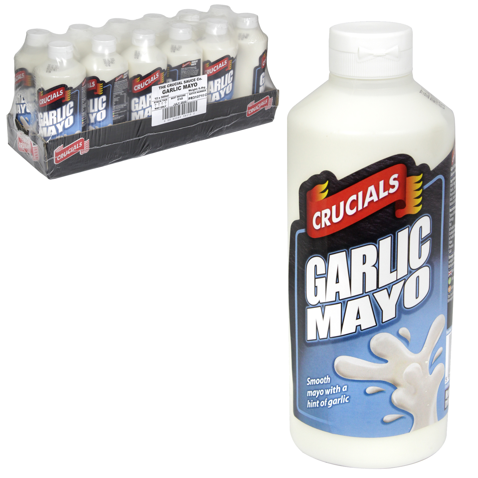 CRUCIALS SQUEEZY 500ML GARLIC+MAYO X12
