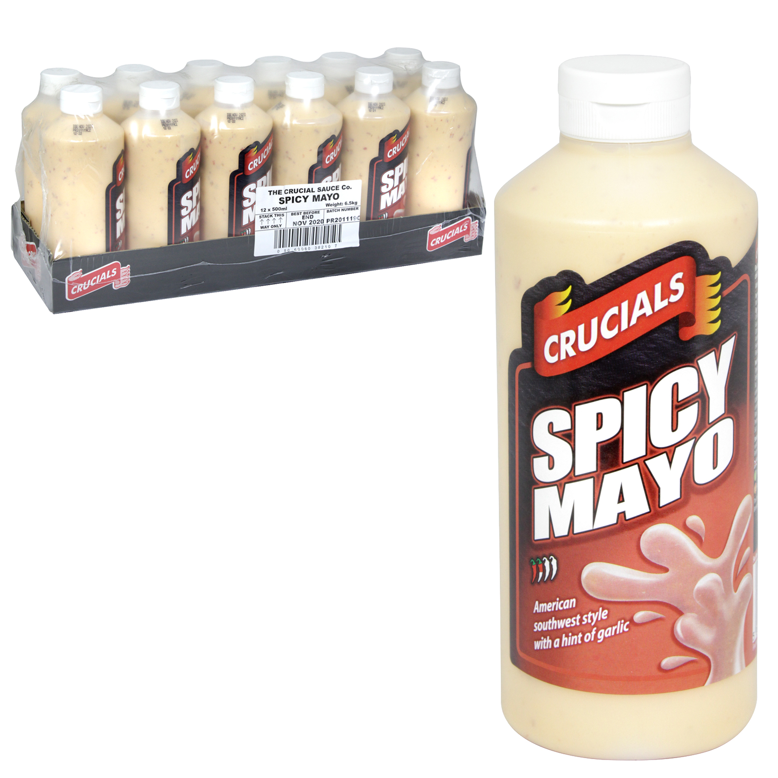 CRUCIAL SQUEEZY 500ML SPICY MAYO HINT OF GARLIC X12