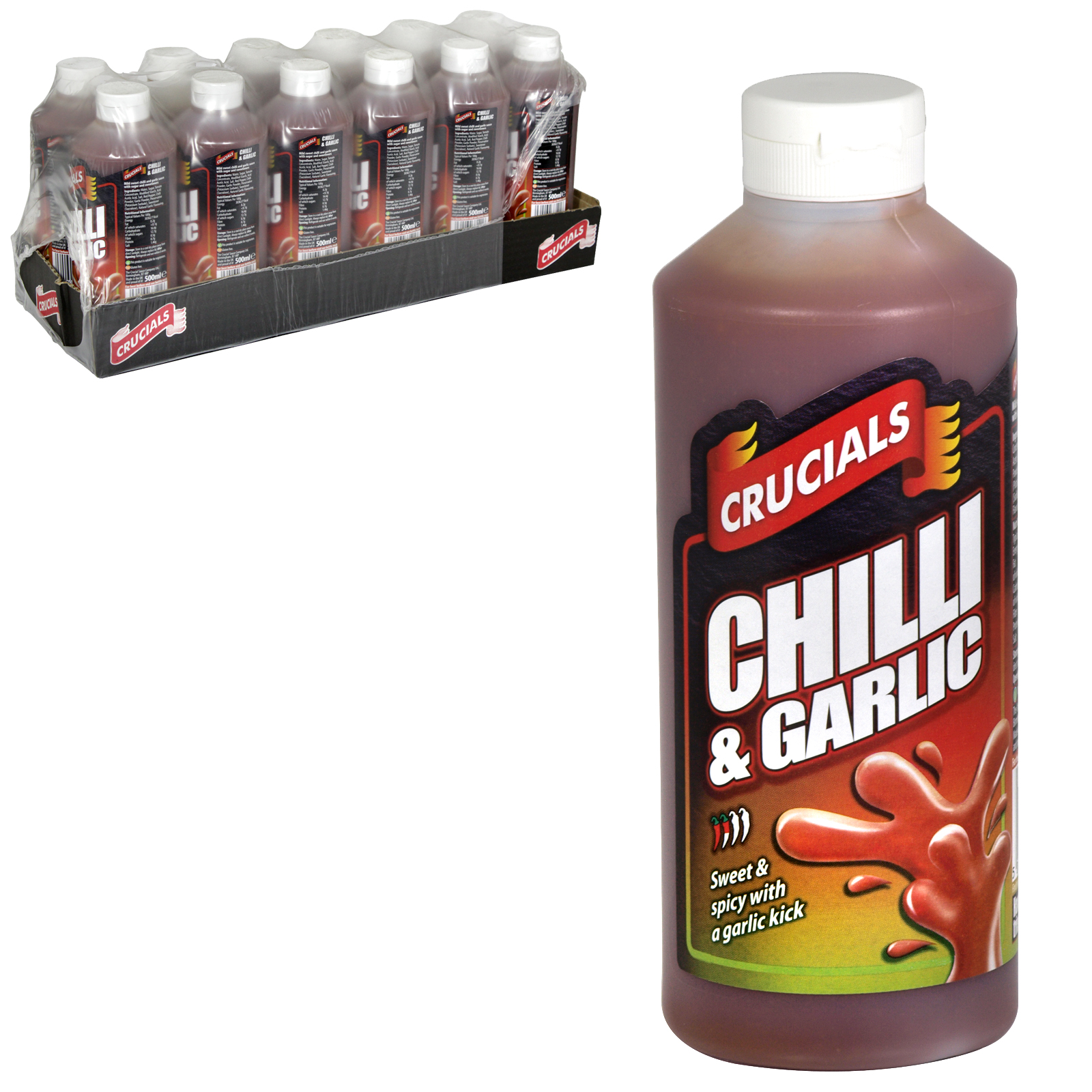 CRUCIAL SQEEZY 500ML CHILLI & GARLIC SAUCE X12