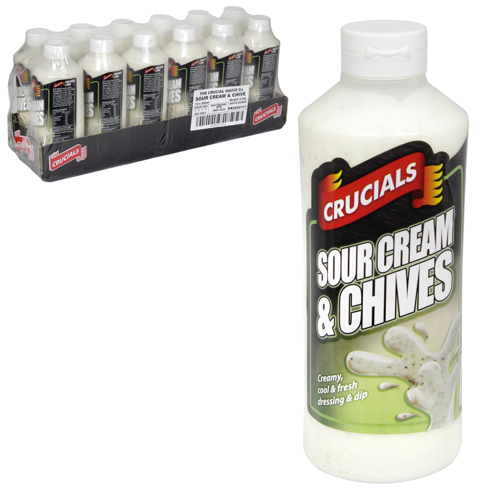 CRUCIALS SQUEEZY 500ML SOUR CREAM+CHIVE X12