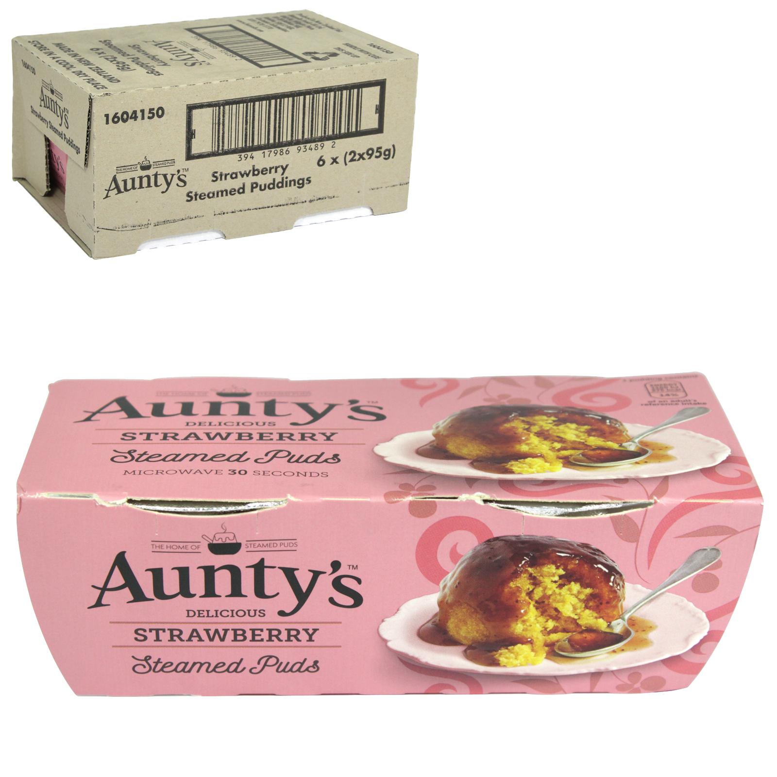 AUNTYS PUDDINGS 2X95GM STRAWBERRY X6