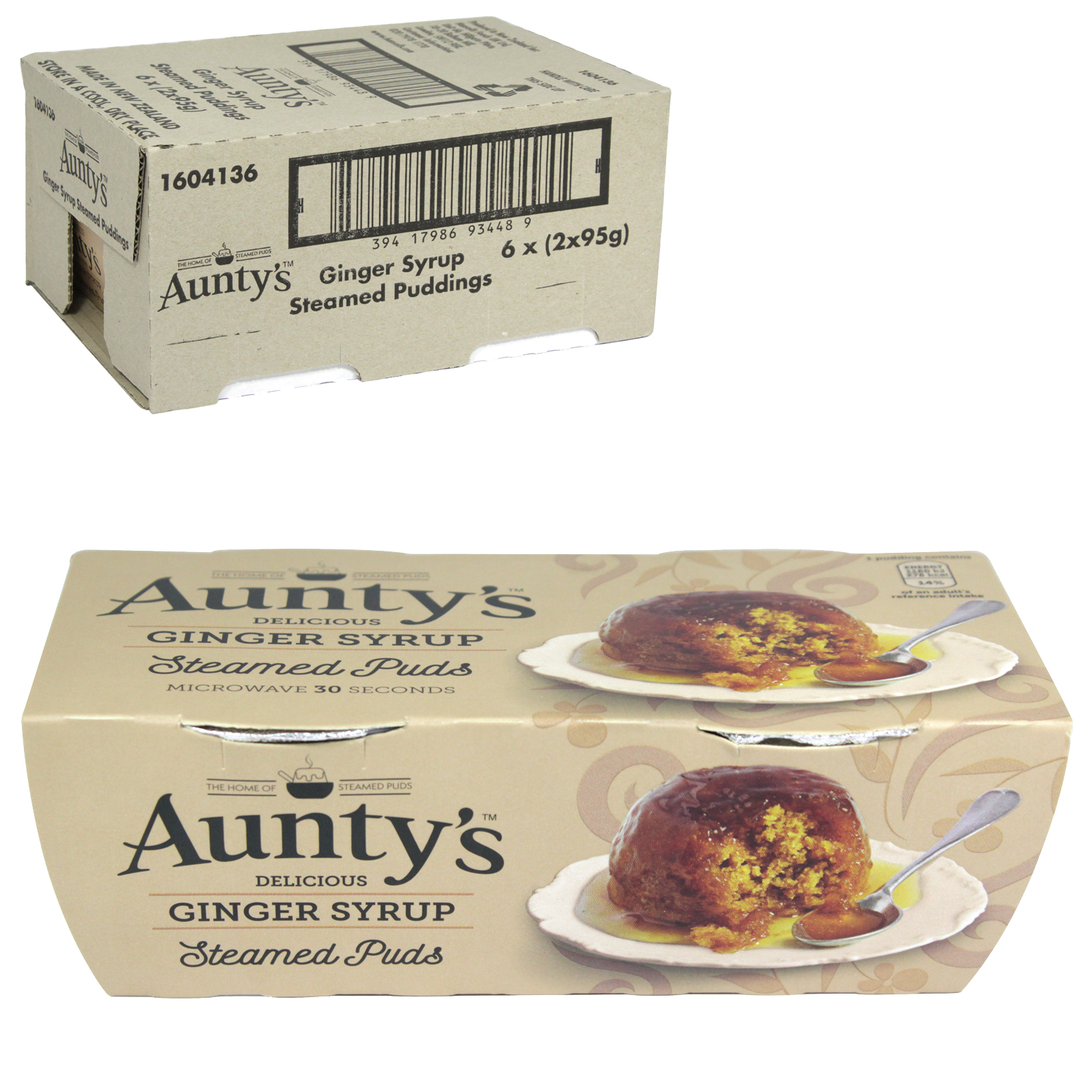 AUNTYS PUDDINGS 2X95GM GINGER SYRUP X6