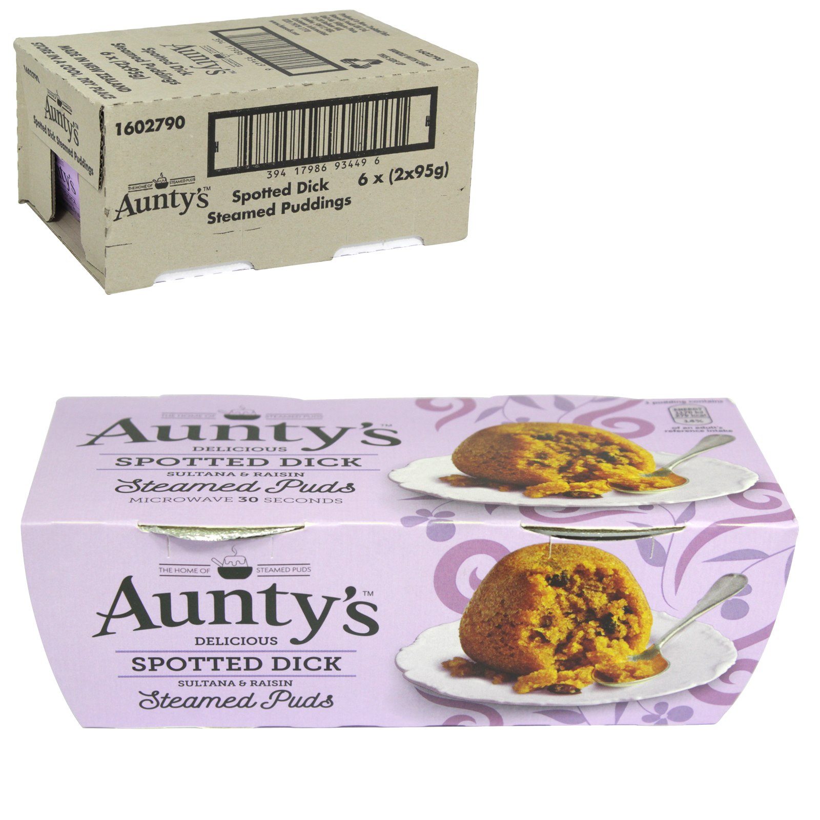 AUNTYS PUDDINGS 2X95GM SPOTTED DICK X6