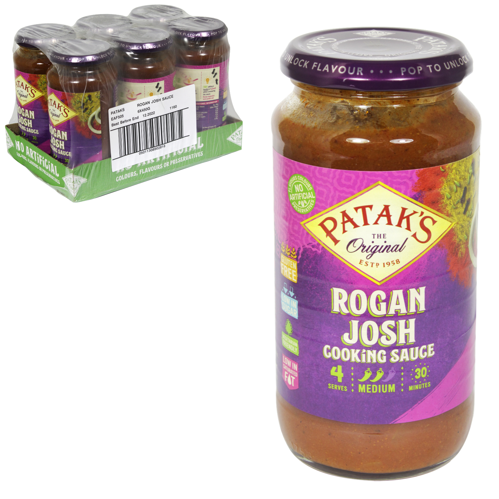 PATAKS CURRY SAUCE 450G JAR ROGAN JOSH X6