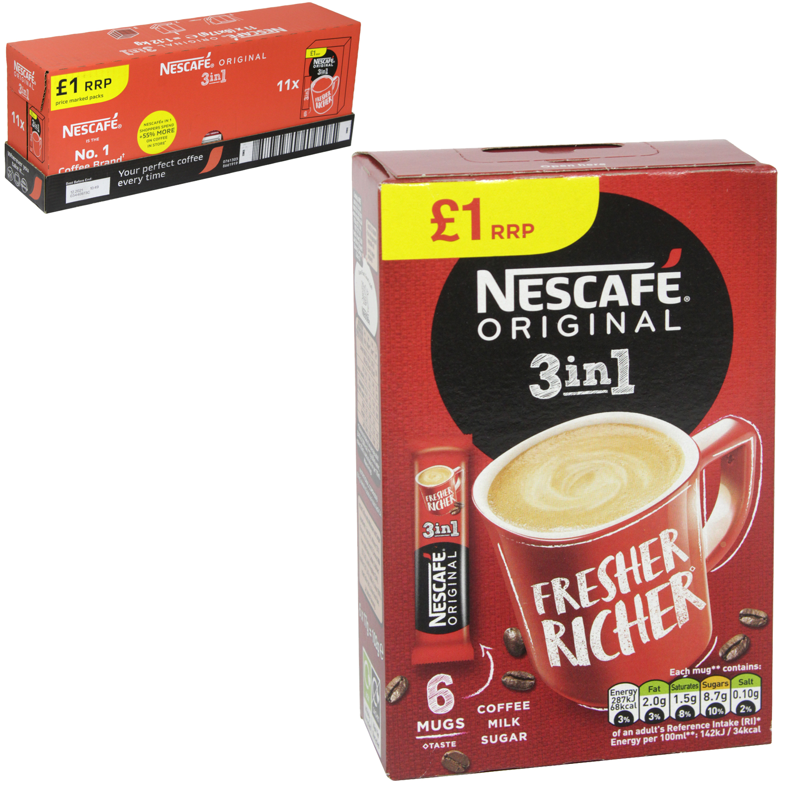 NESCAFE 3IN1 COFFEE 6 SACHETS PM ?1 X11