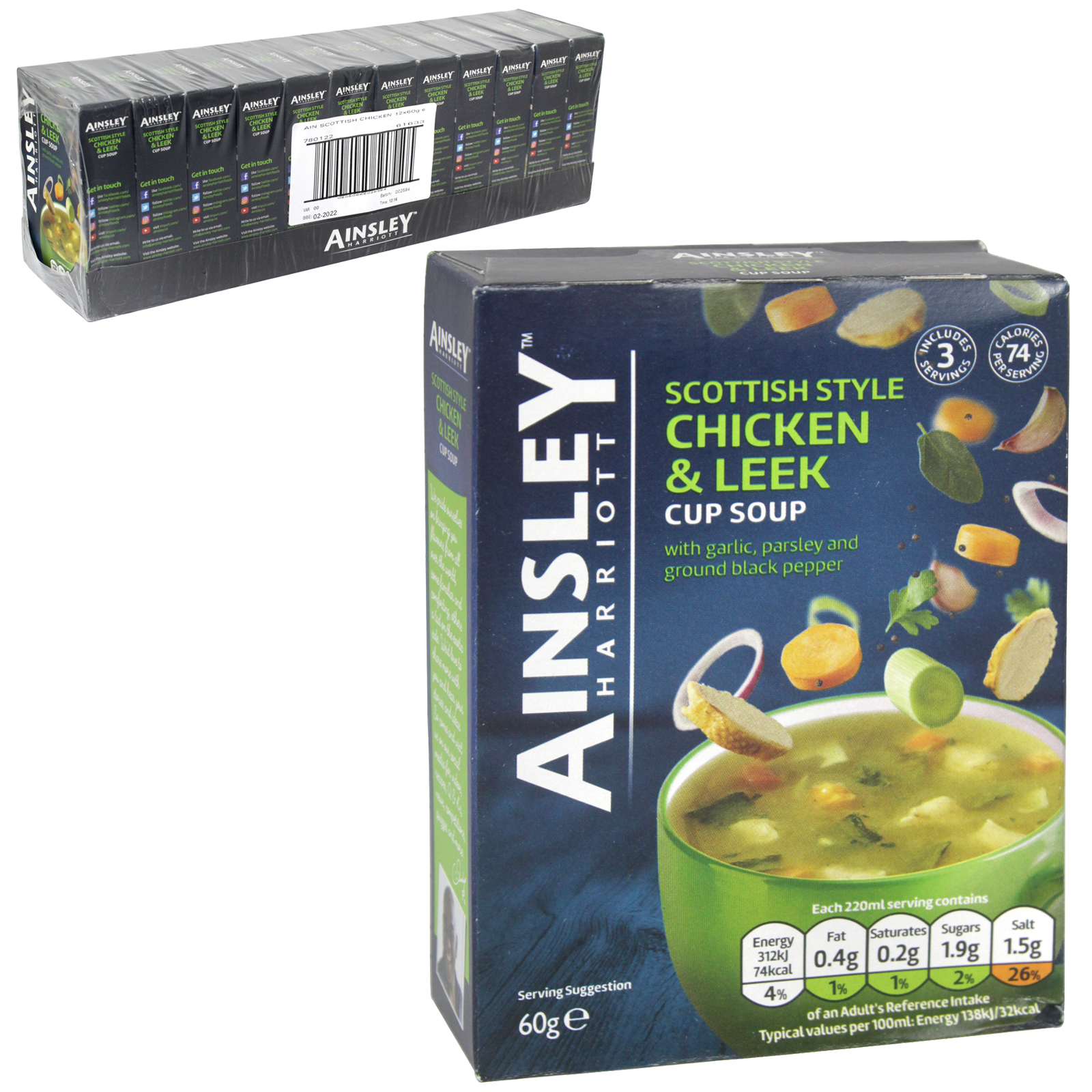 AINSLEY CUP-A-SOUP 3PK CHICKEN & LEEK