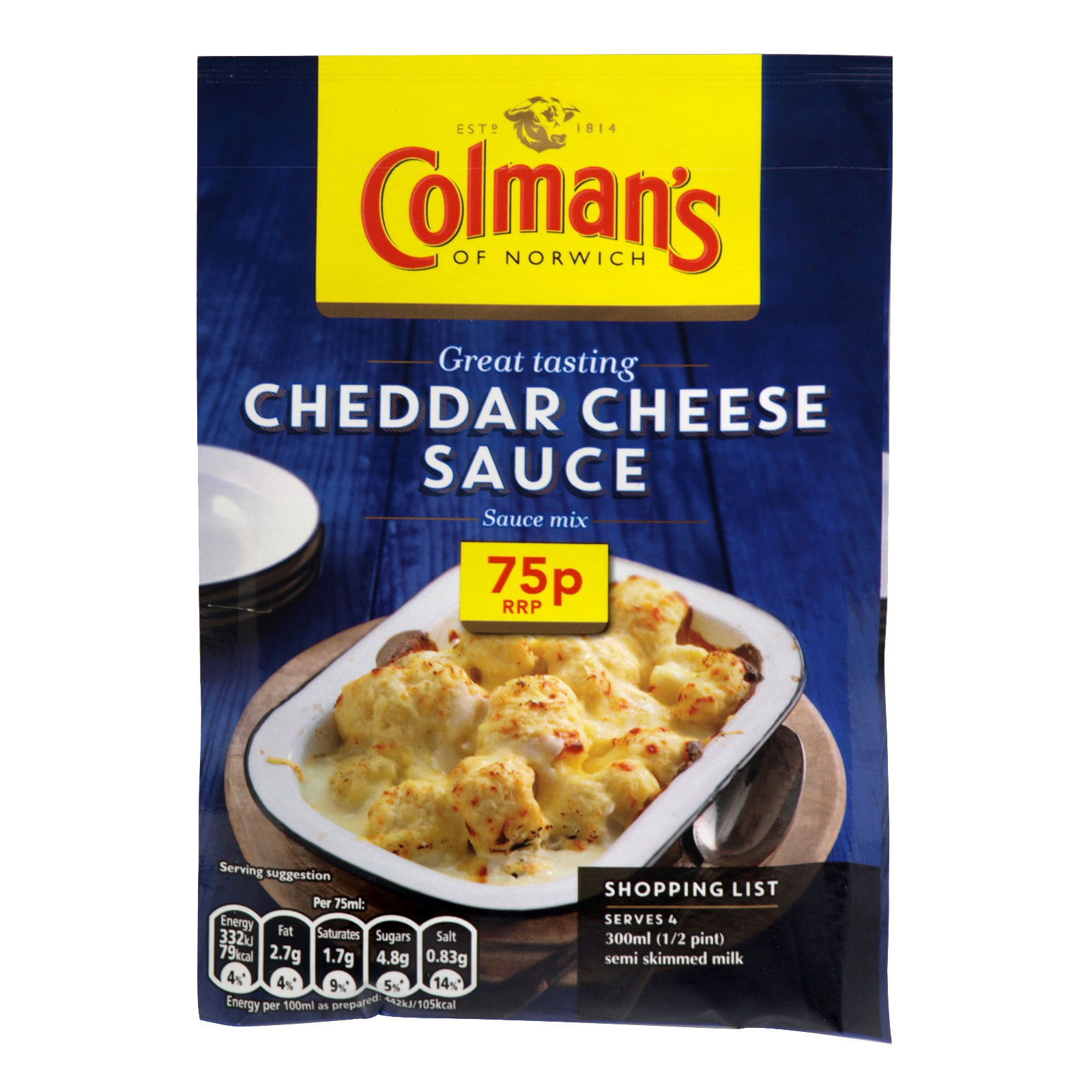 COLMANS CHEDDAR CHEESE SAUCE 40GM PM 0.75P