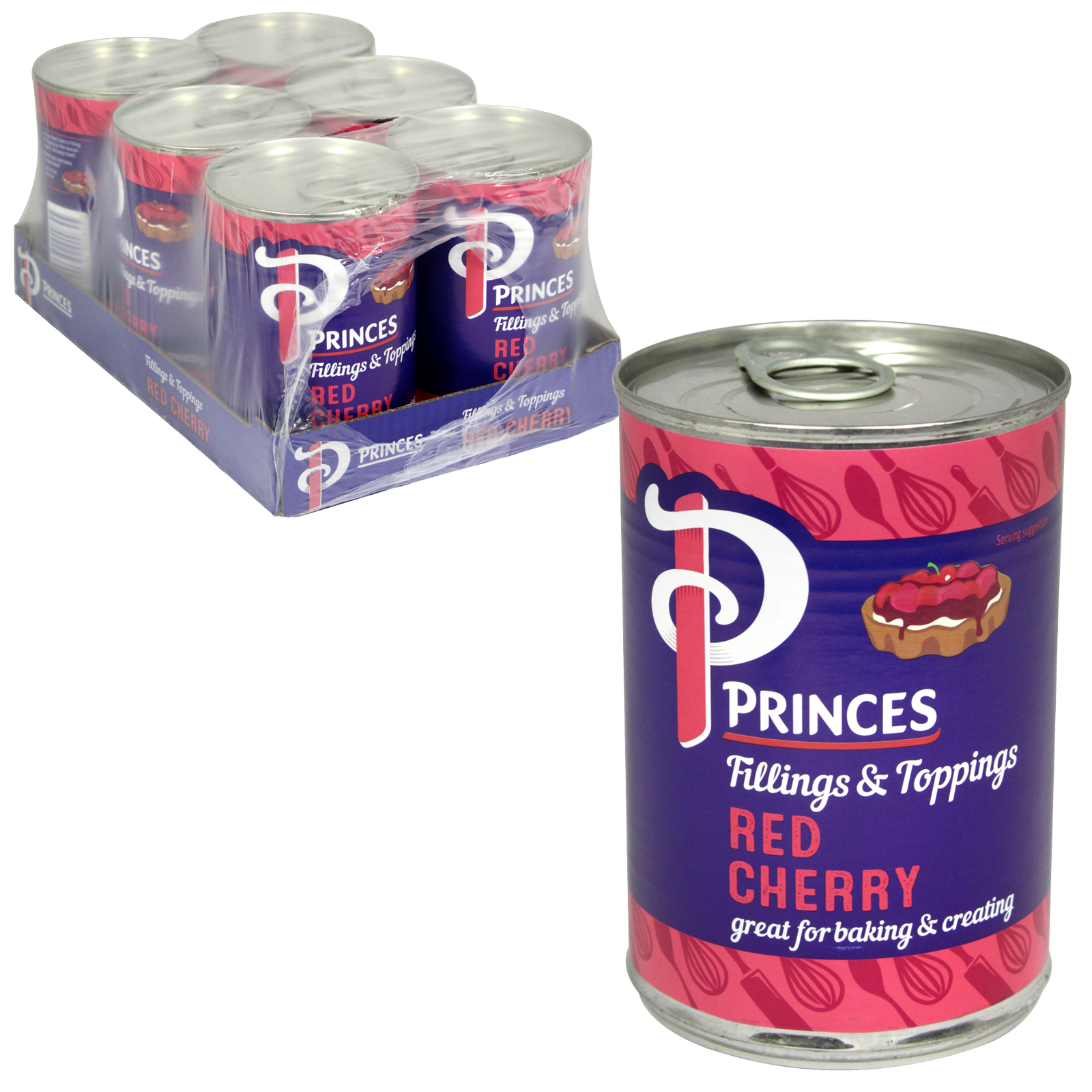 PRINCES FRUIT FILLING RED CHERRY 410G X6