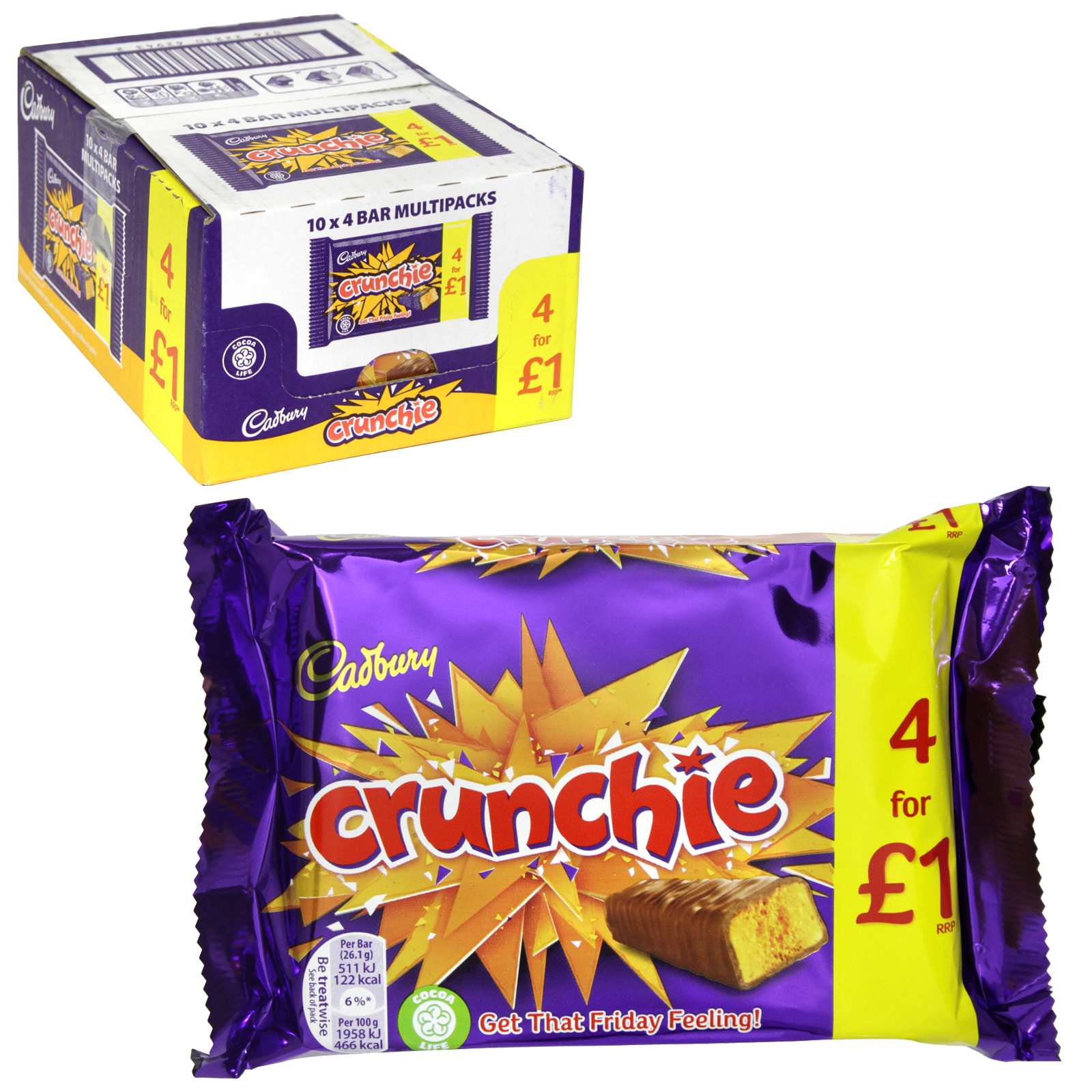 CADBURY 4PK CRUNCHIE X10