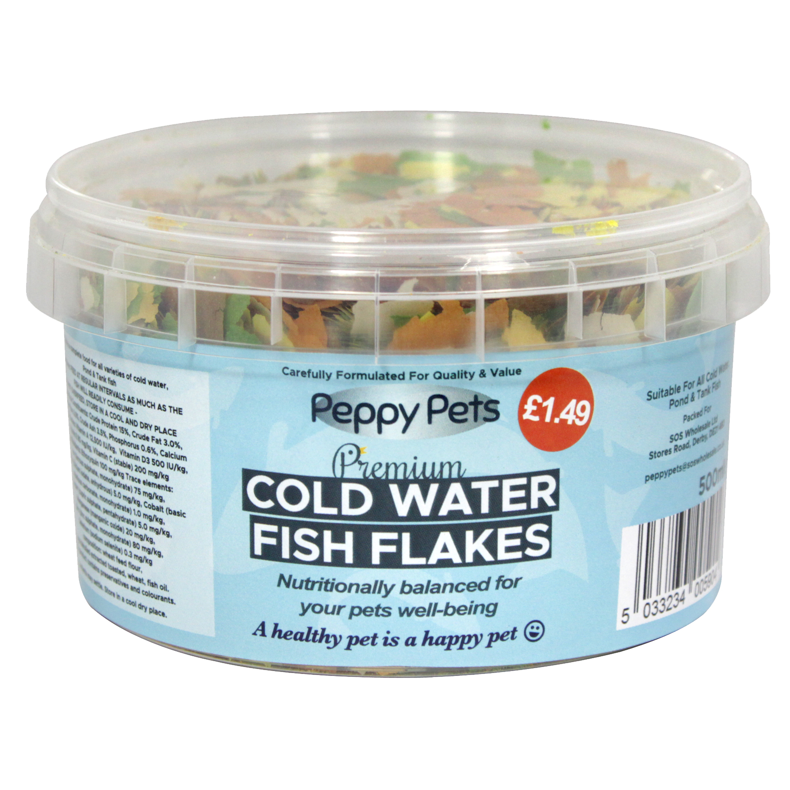 PEPPY PETS COLDWATER GOLDFISH FLAKES PM?1.49 500ML