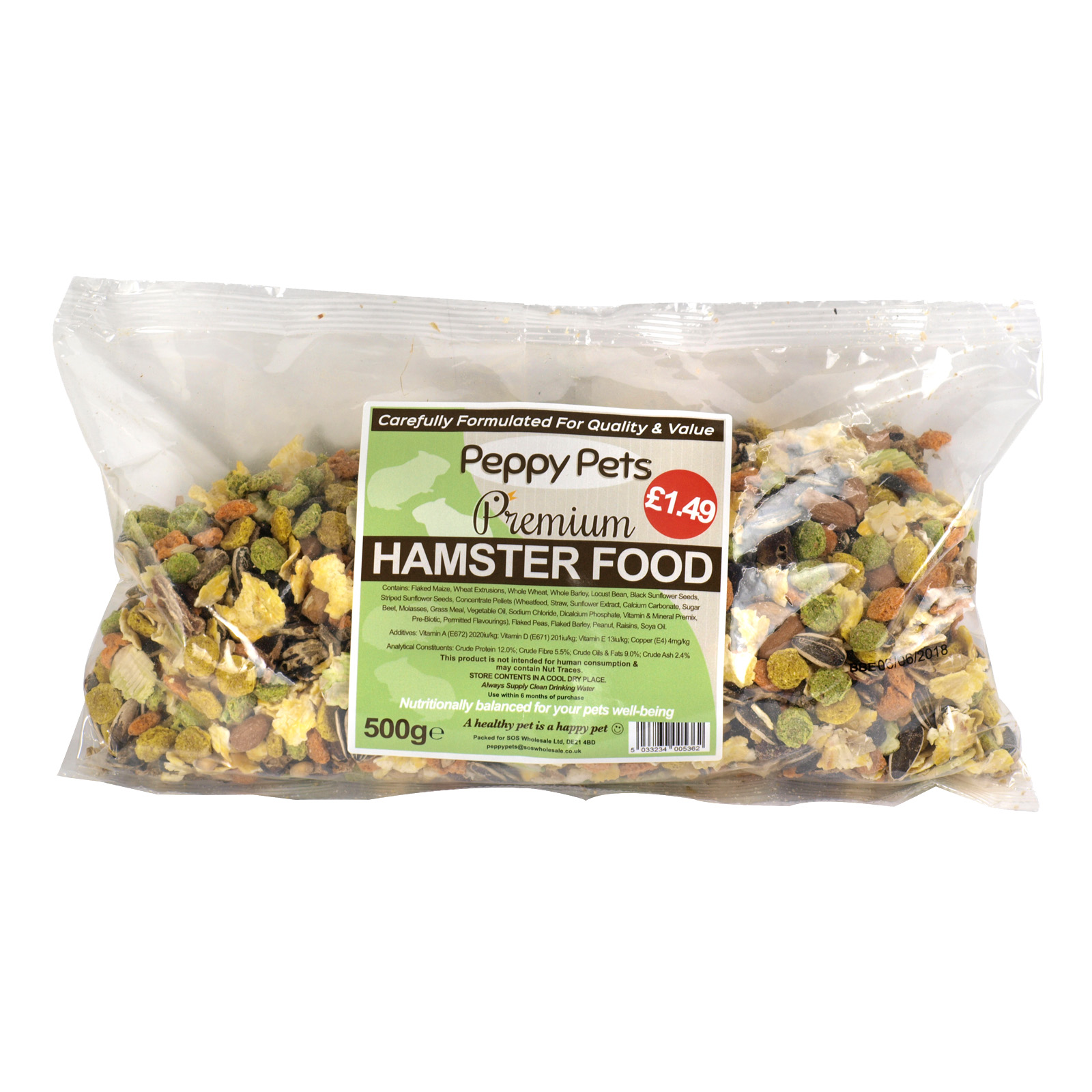 PEPPY PETS HAMSTER FOOD PM?1.49 500GM