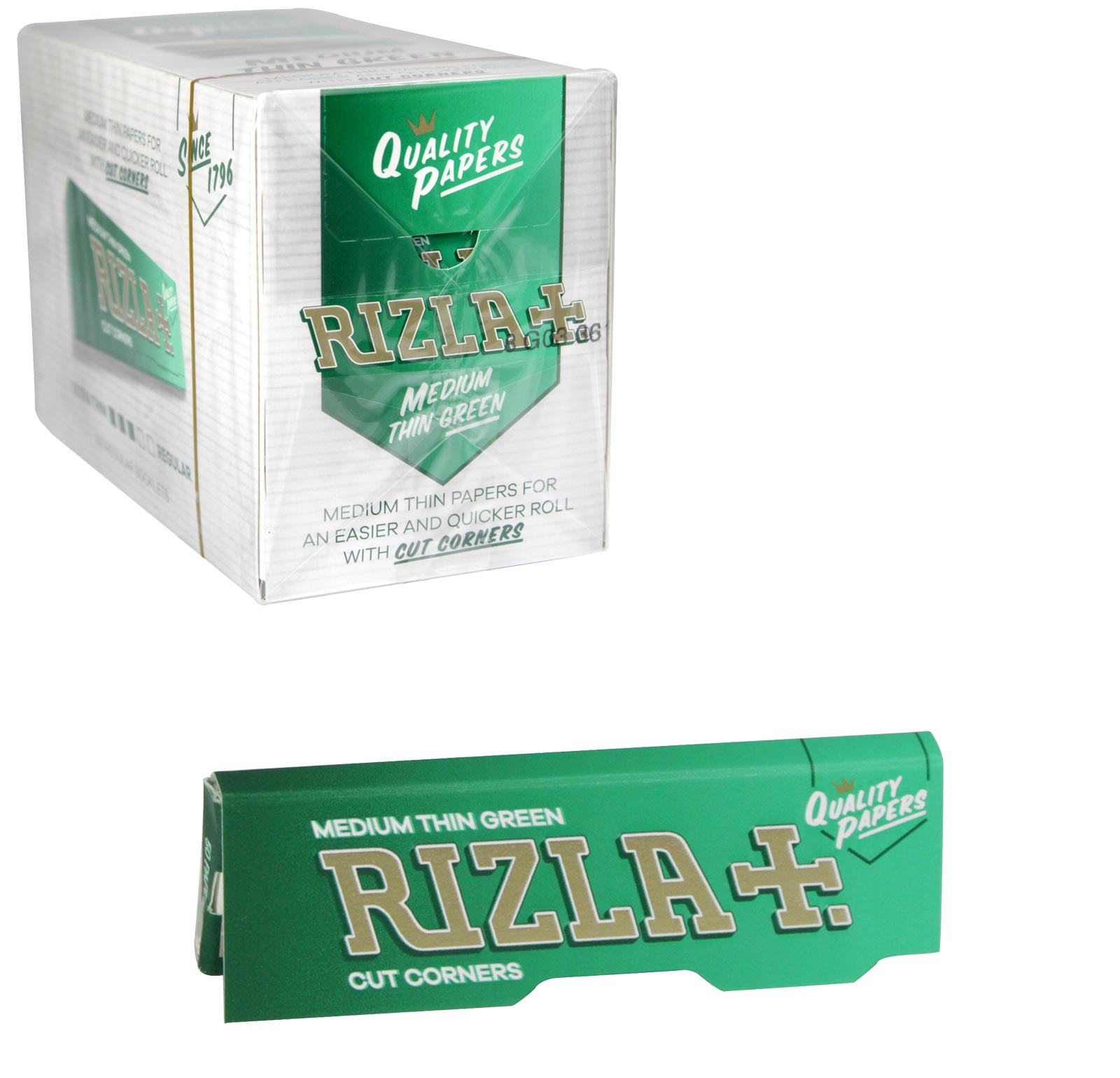 RIZLA CIGARETTE PAPERS STD GREEN 50 LEAVES X100