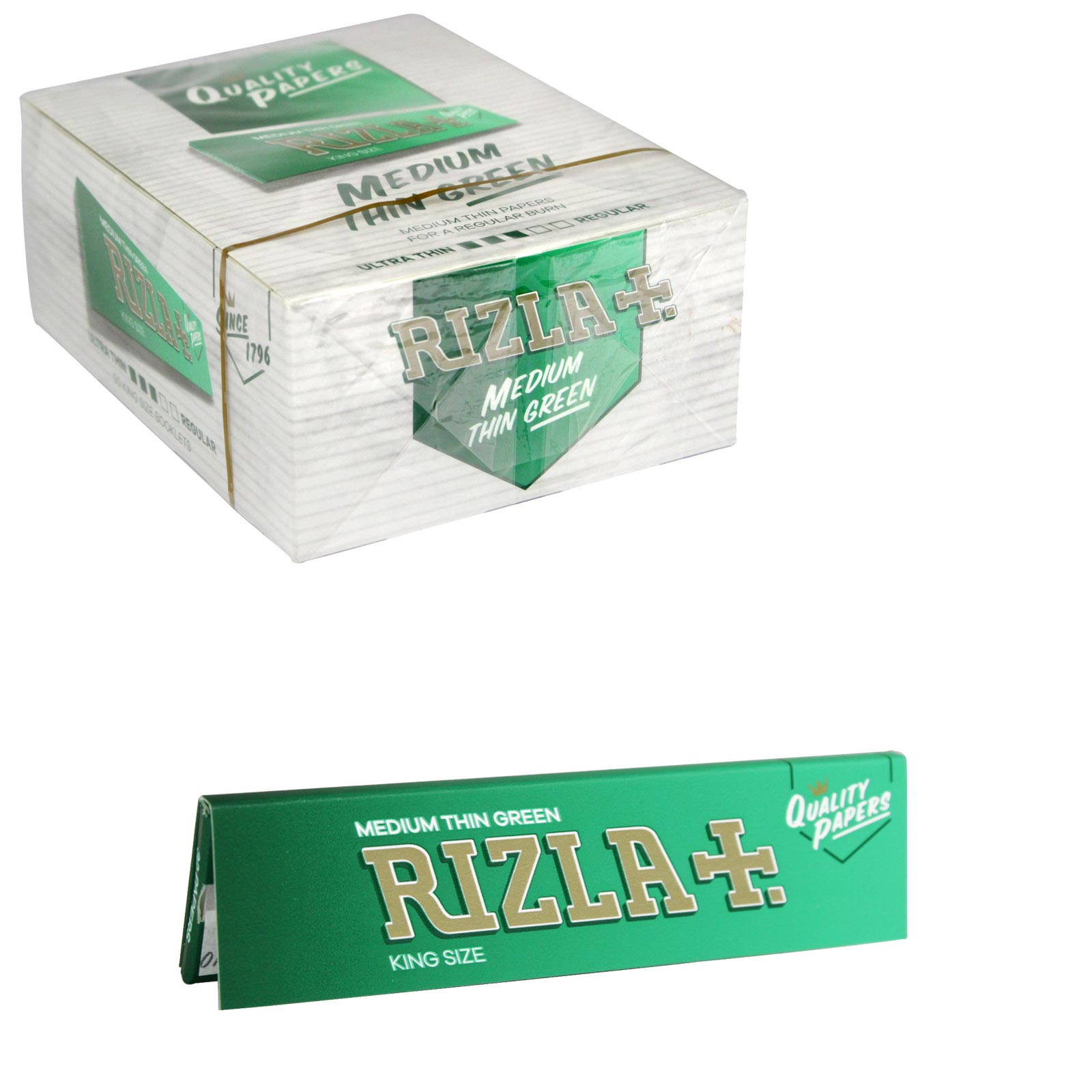 RIZLA CIGARETTE PAPERS KING SIZE GREEN 32 LEAVES X50