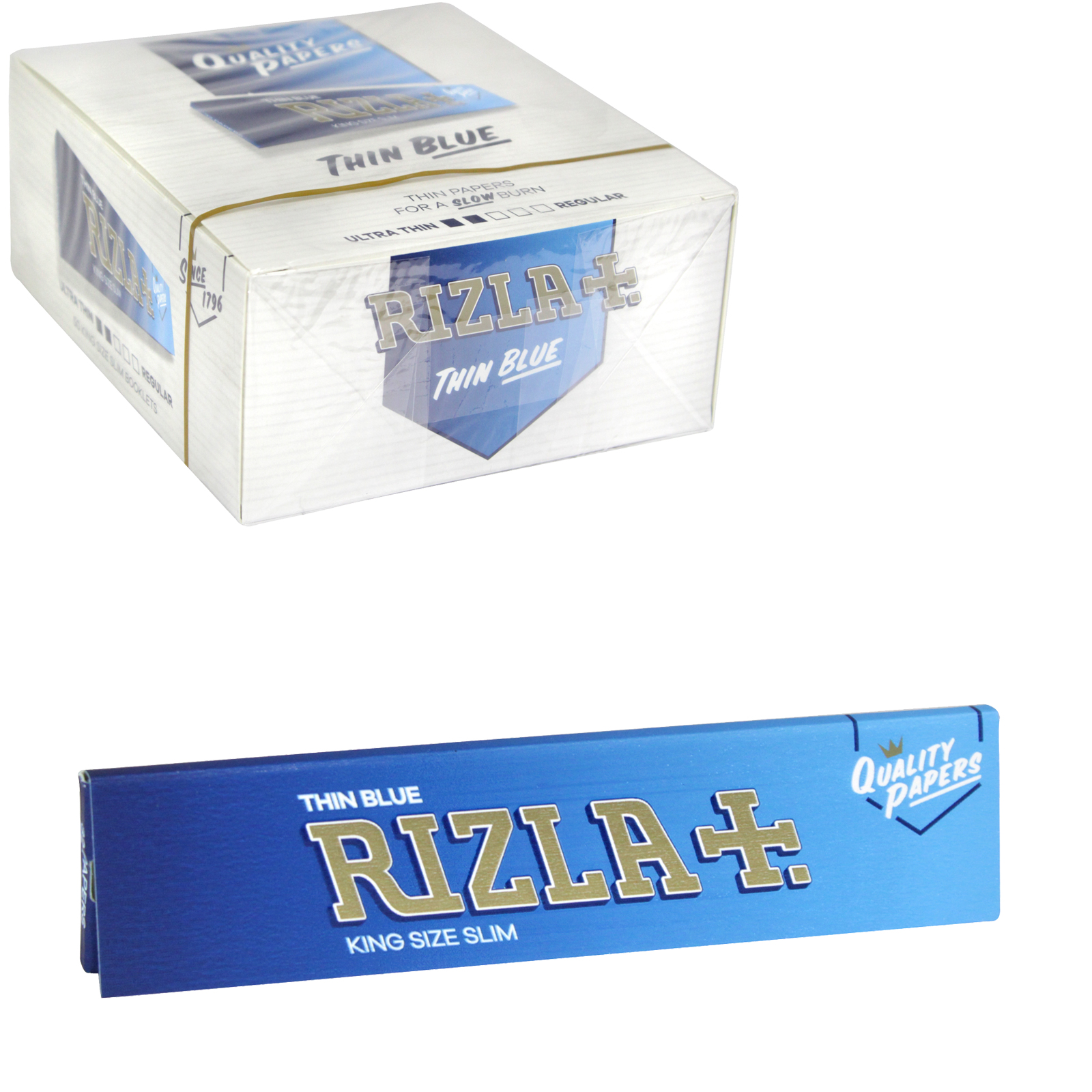 RIZLA CIGARETTE PAPERS KING SIZE SLIM BLUE 32 LEAVES X50