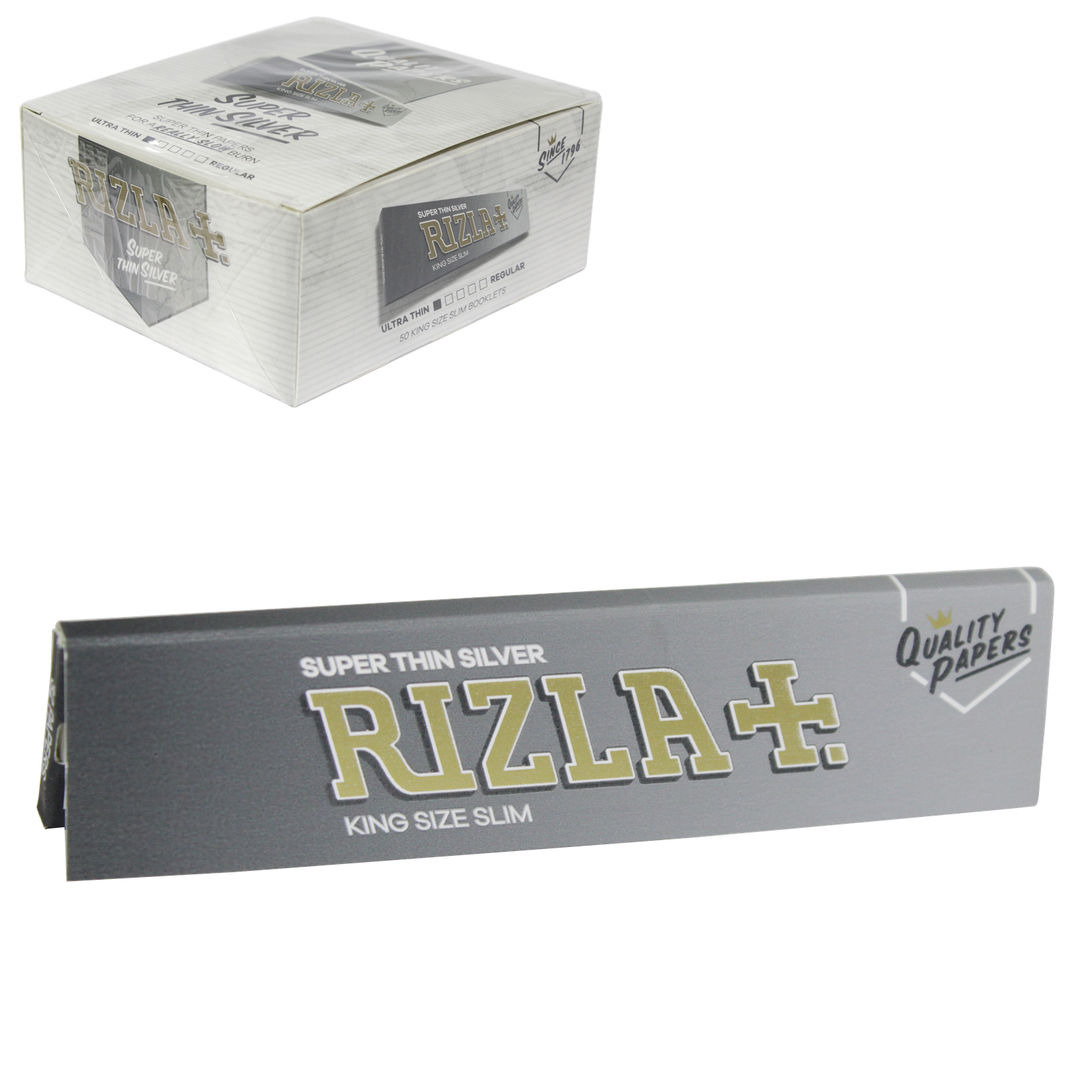 RIZLA CIGARETTE PAPERS KING SLIM SILVER 32 LEAVES X50