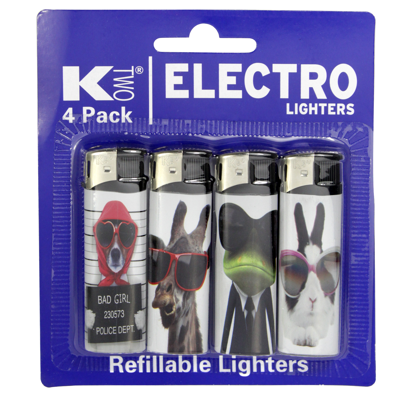 KTWO 4PK ELECTRONIC LIGHTERS ANIMALS