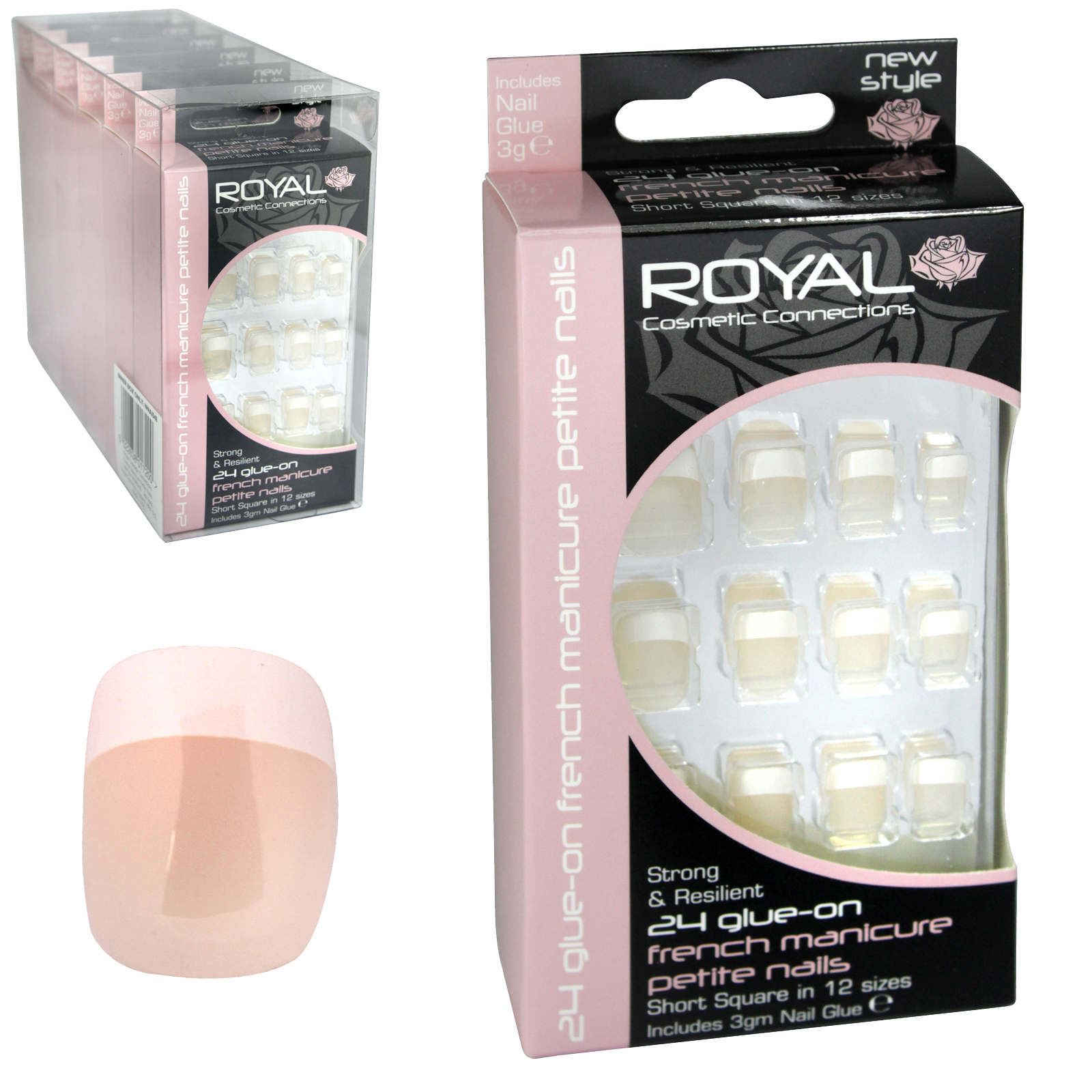 ROYAL 24 FRENCH NAILS SM SHORT SQUARE X6