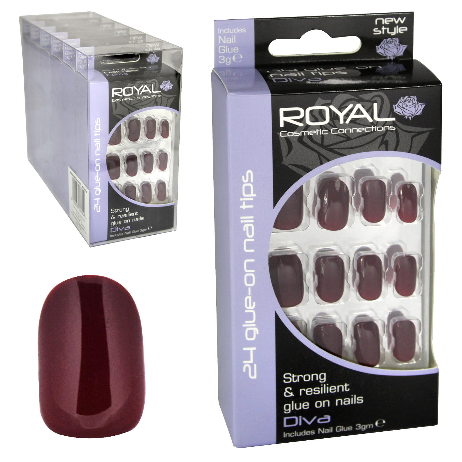ROYAL 24 NAIL TIPS+3GM NAIL GLUE DIVA X6