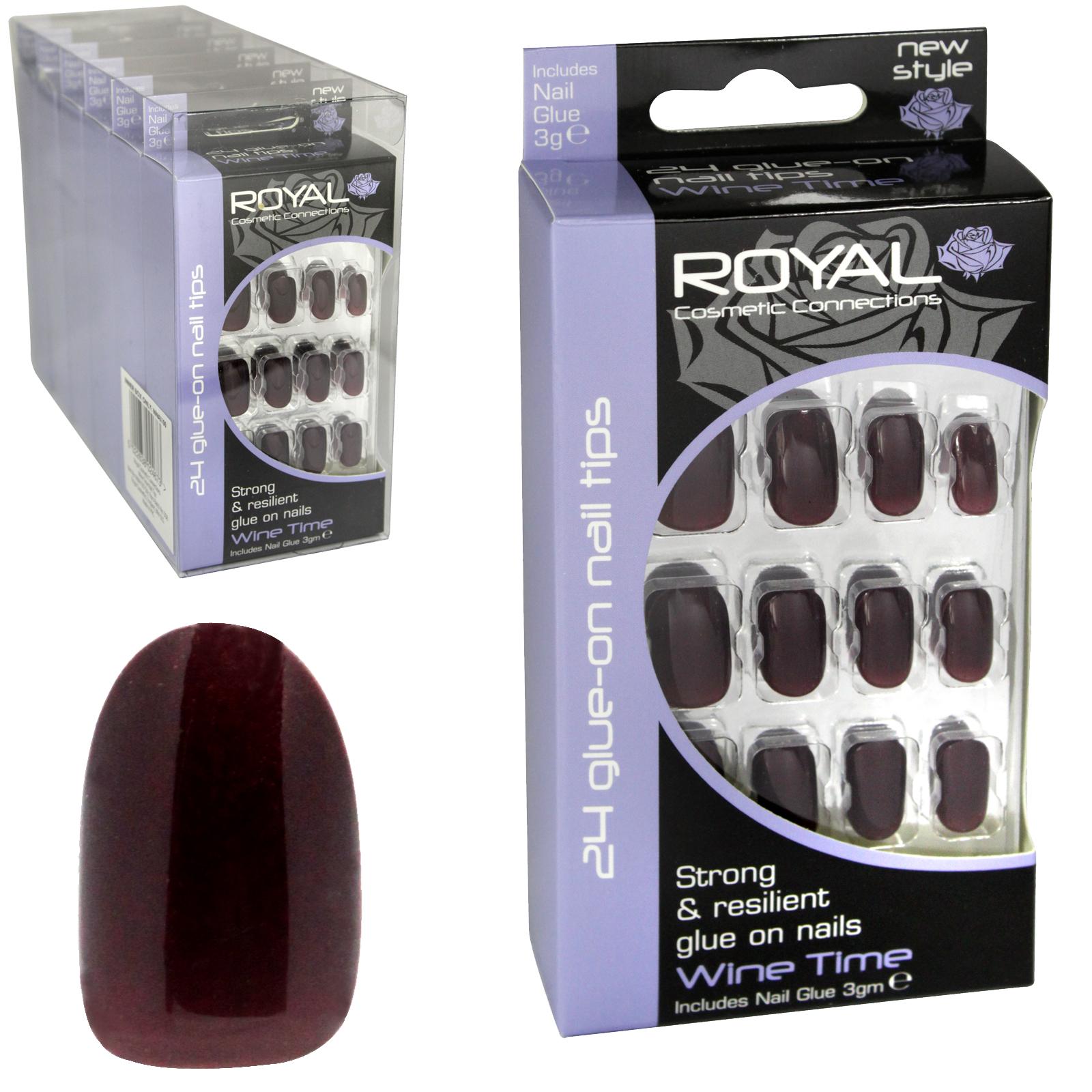 ROYAL 24 NAIL TIPS+GLUE WINE TIME X6