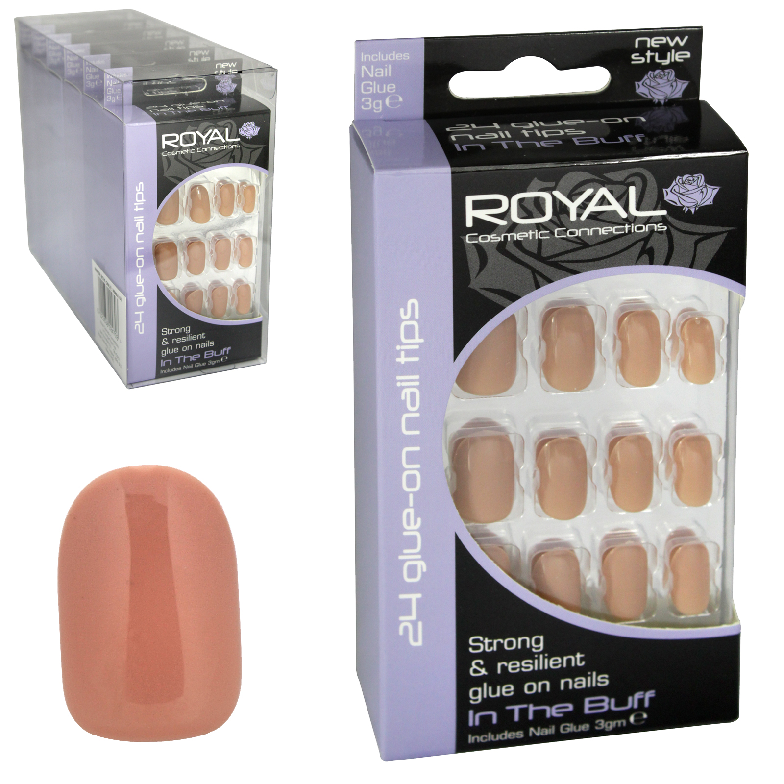 ROYAL 24 NAIL TIPS+GLUE IN THE BUFF X6
