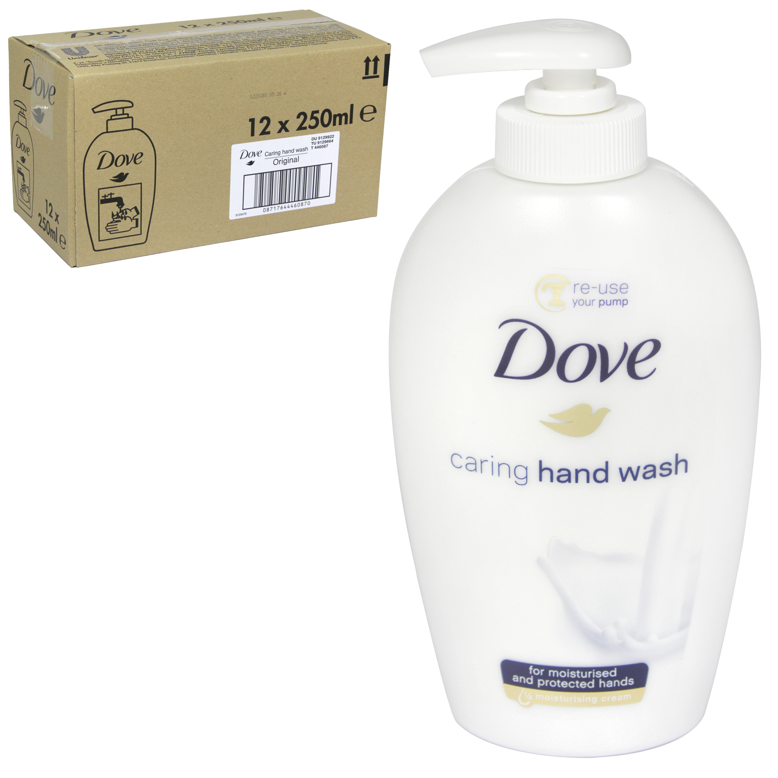 DOVE LIQUID SOAP 250ML ORIGINAL CARING X 12