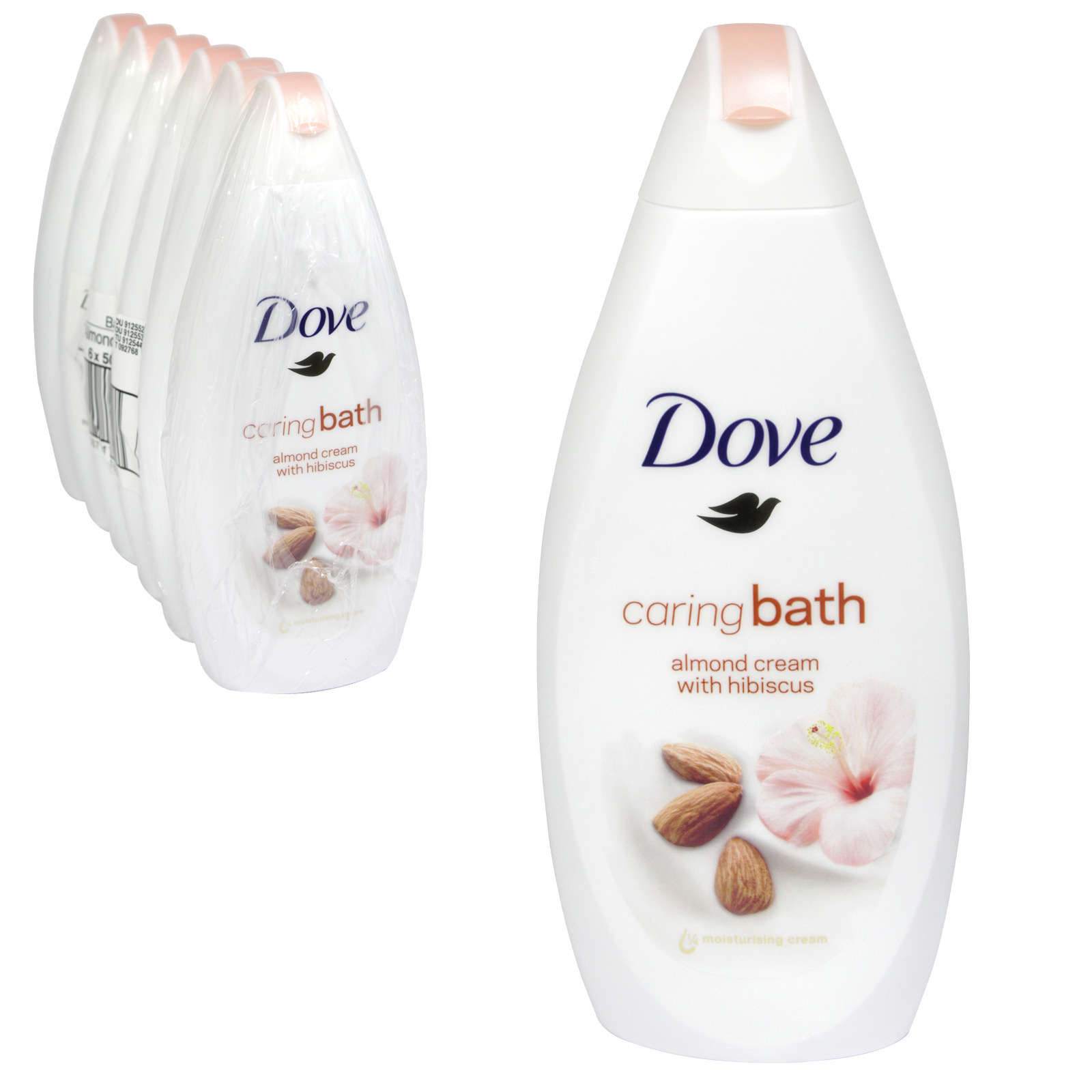 DOVE BATH 500ML PURELY PAMPERING ALMOND CREAM WITH HIBISCUS X 6