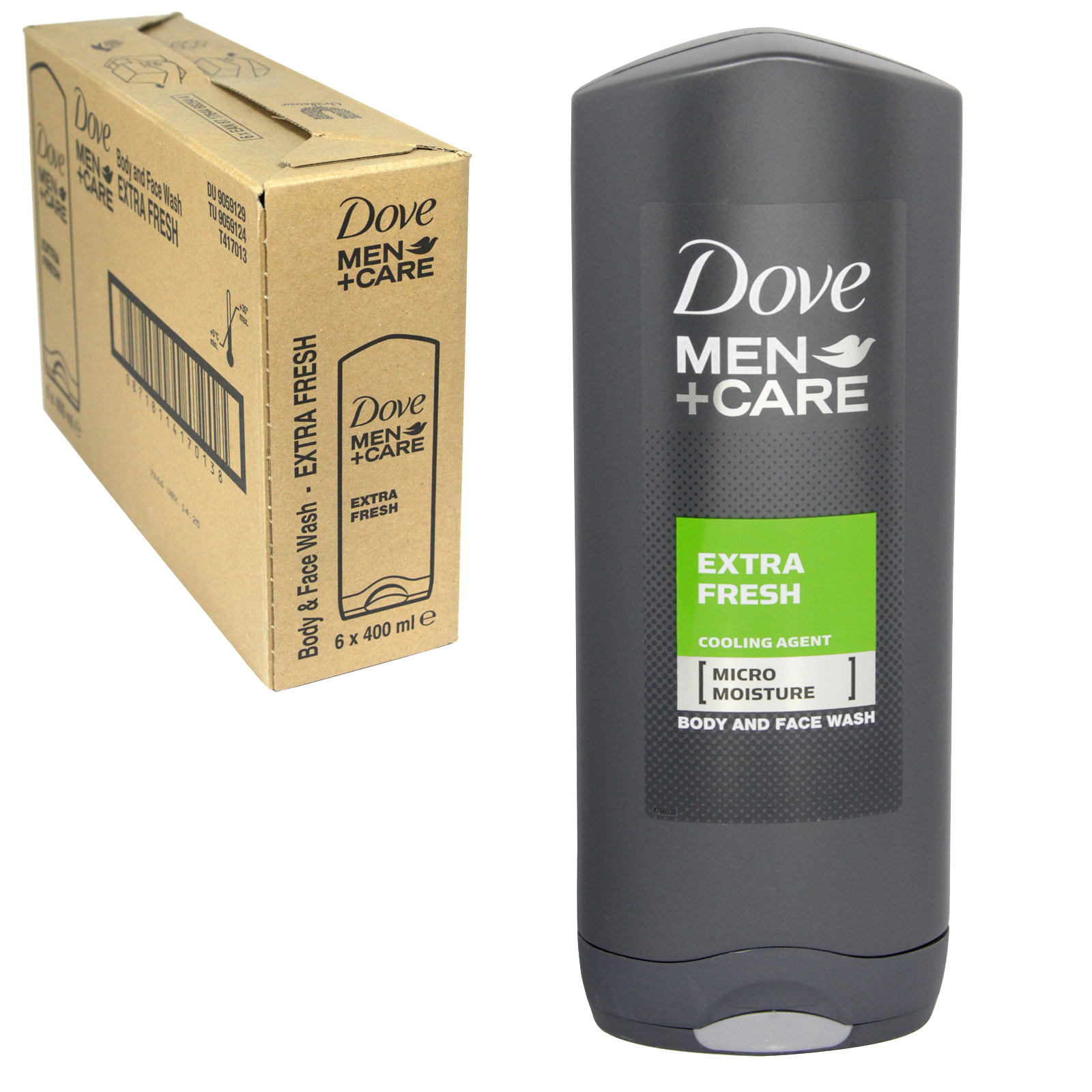 DOVE MEN+CARE 400ML FACE+BODY WASH EXTRA FRESH X 6