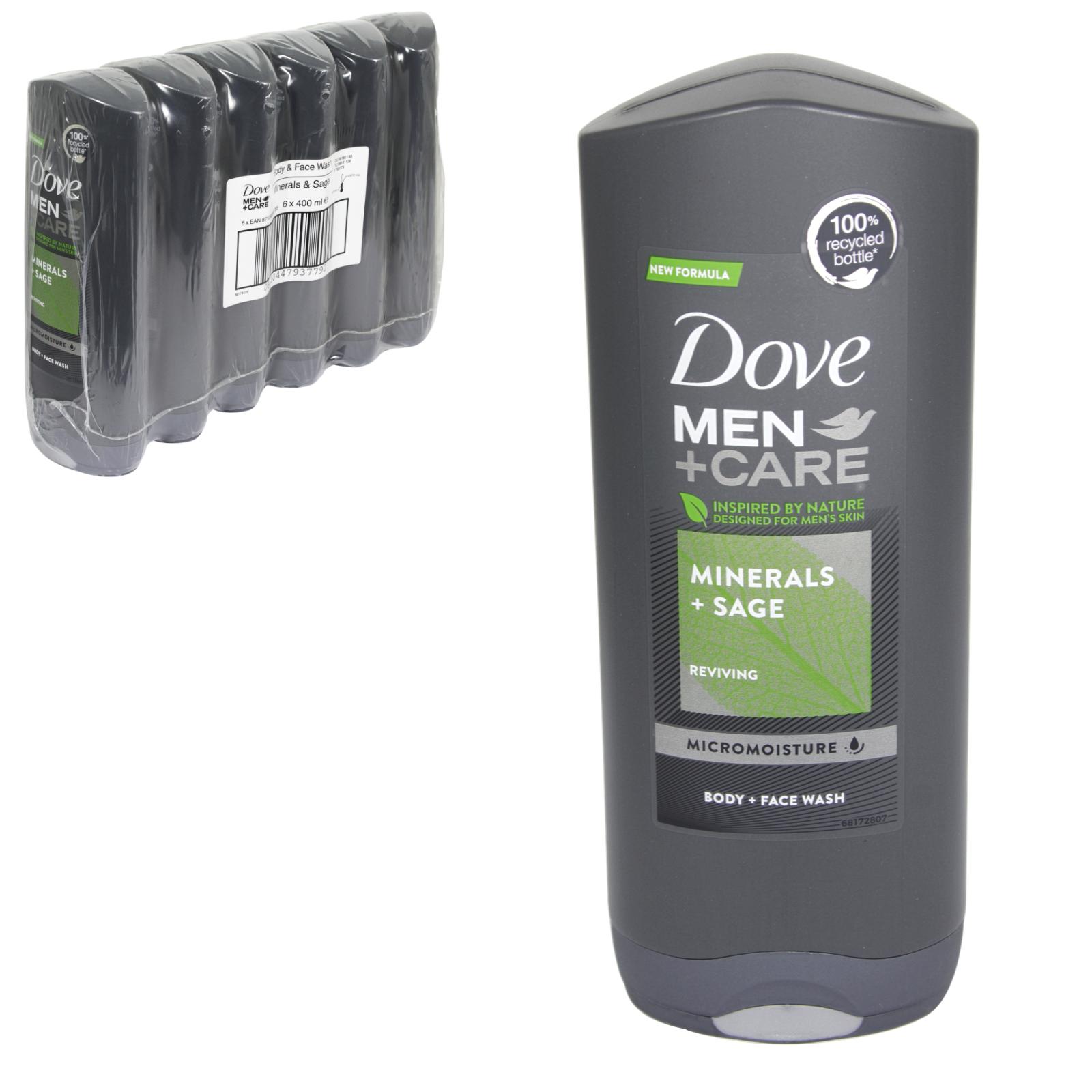 DOVE MEN+CARE 400ML FACE+BODY WASH MINERALS+SAGE X 6