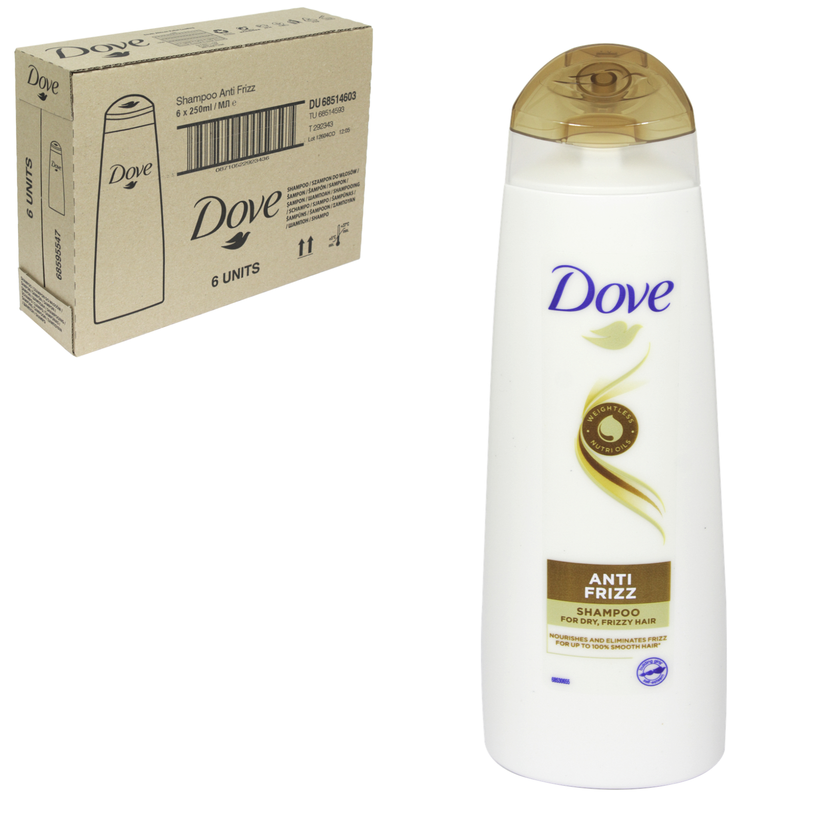 DOVE SHAMPOO 250ML NOURISHING OIL CARE X 6