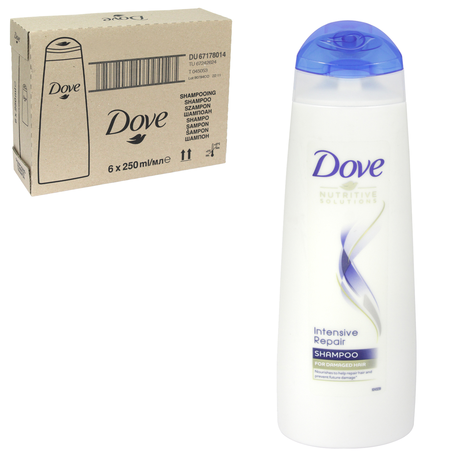 DOVE SHAMPOO 250ML INTENSIVE REPAIR X 6