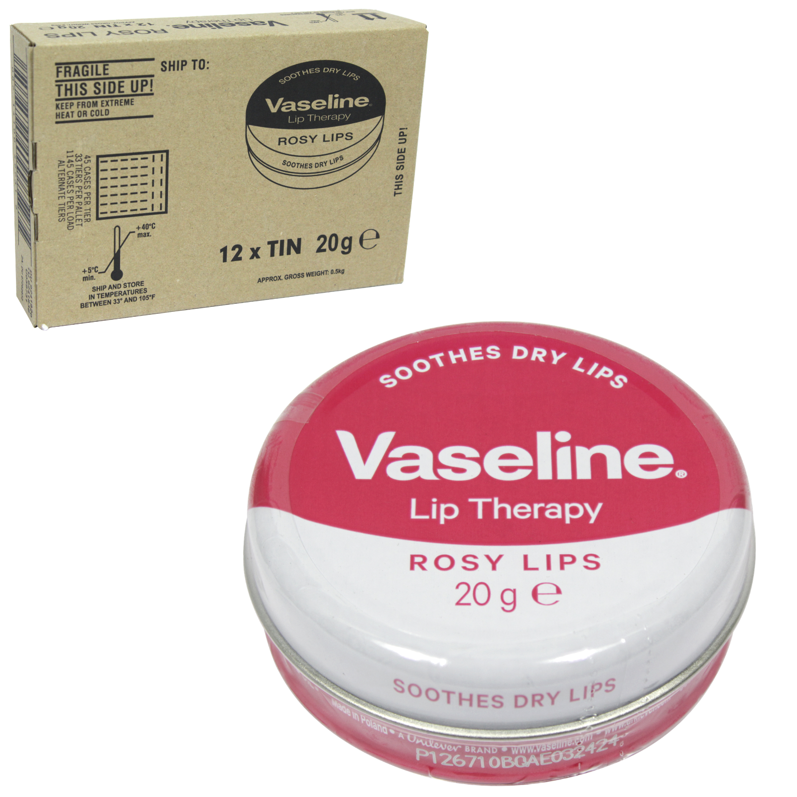 VASELINE LIP THERAPY 20GM ROSY LIPS ROSE AND ALMOND OIL X12