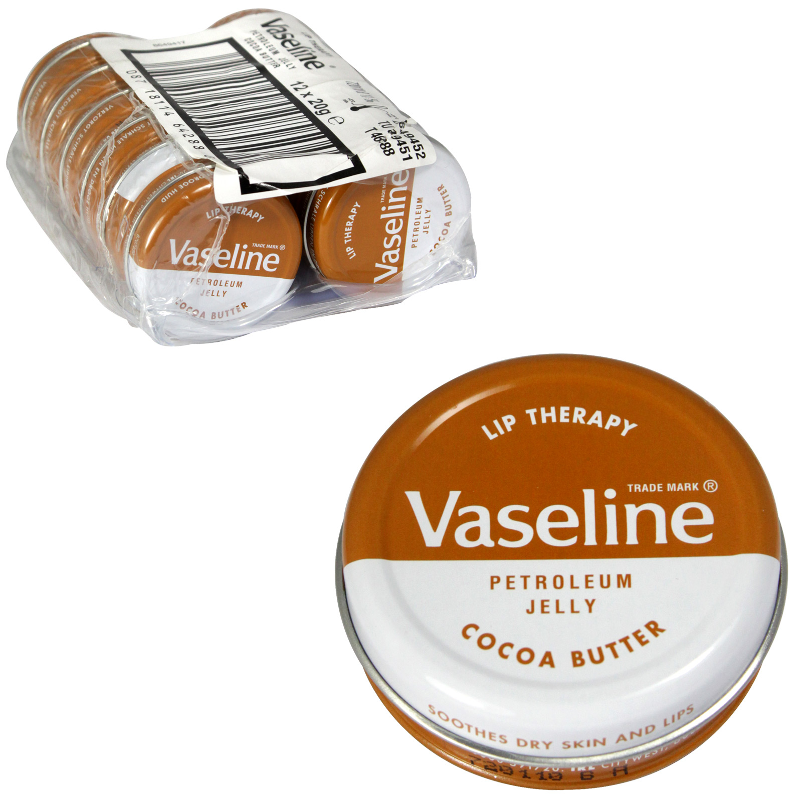 VASELINE LIP THERAPY 20GM COCOA BUTTER X12