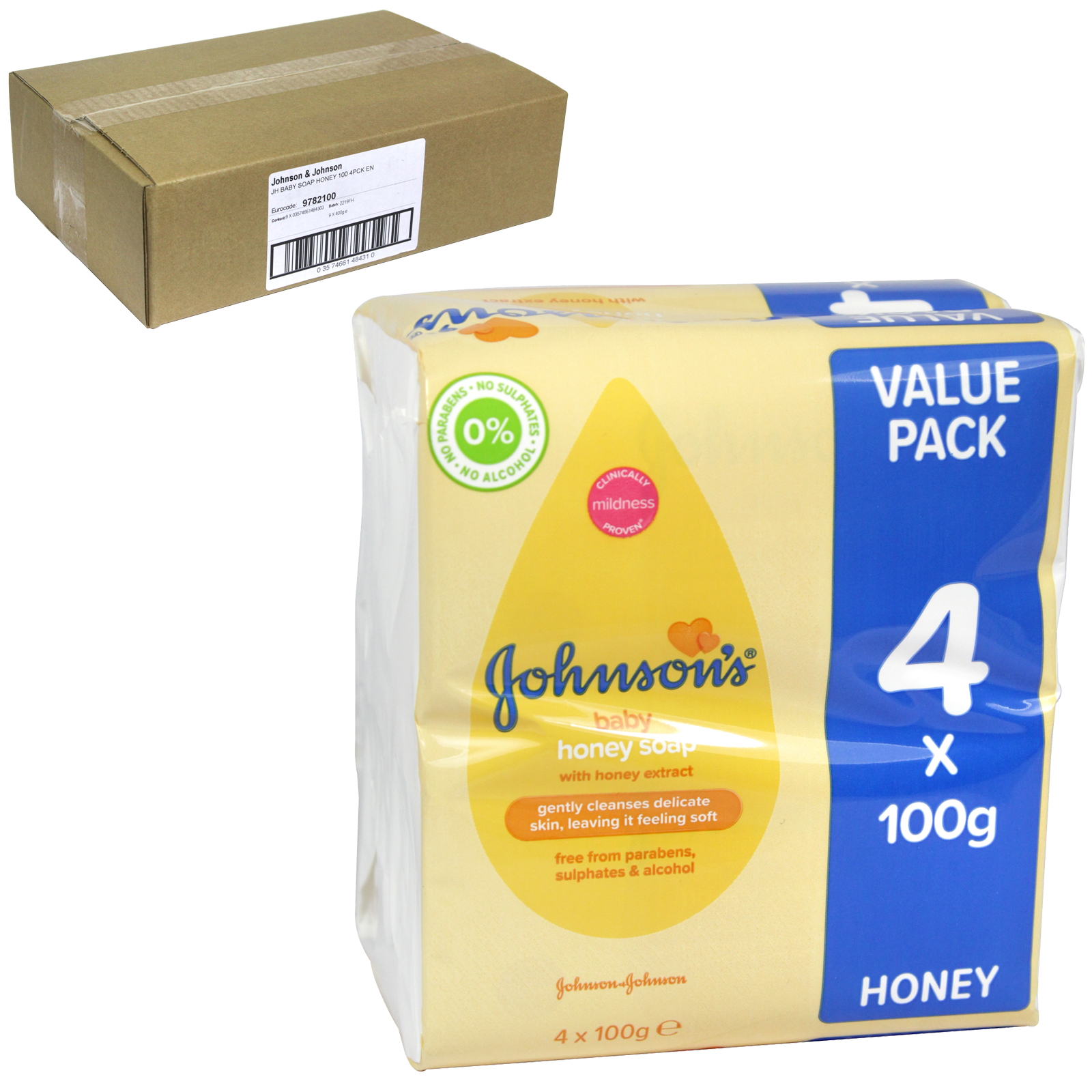 JOHNSONS BABY SOAP 4X100G WITH HONEY