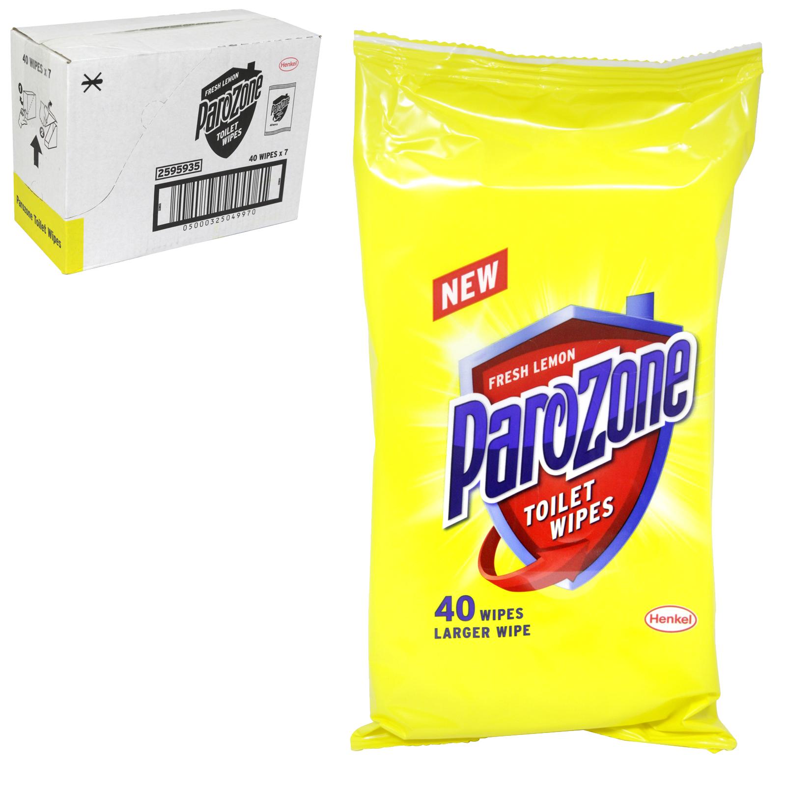 PAROZONE TOILET WIPES 40S FRESH LEMON X7