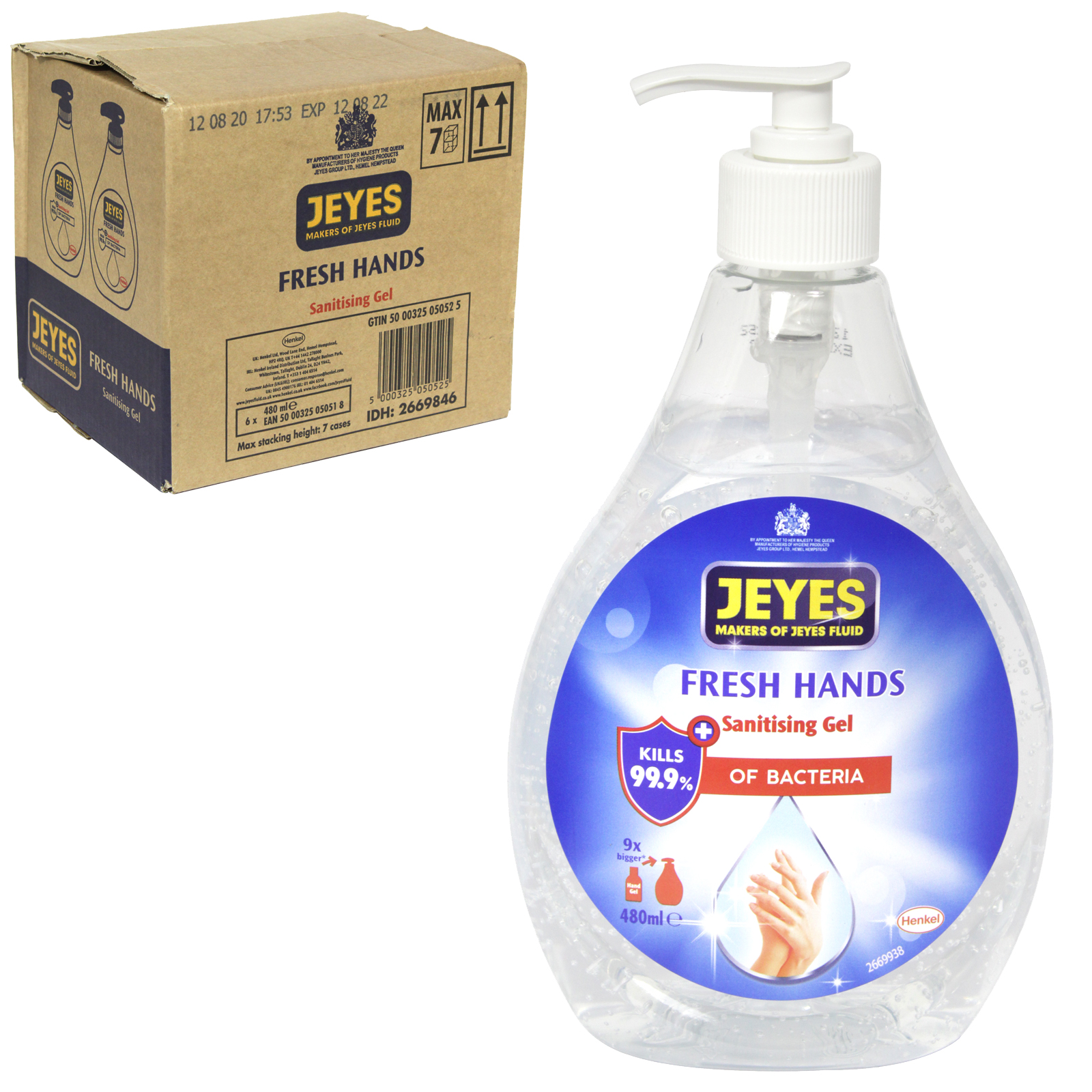 JEYES FRESH HANDS SANITISING HAND GEL 480ML PUMP 65% ALCOHOL X6