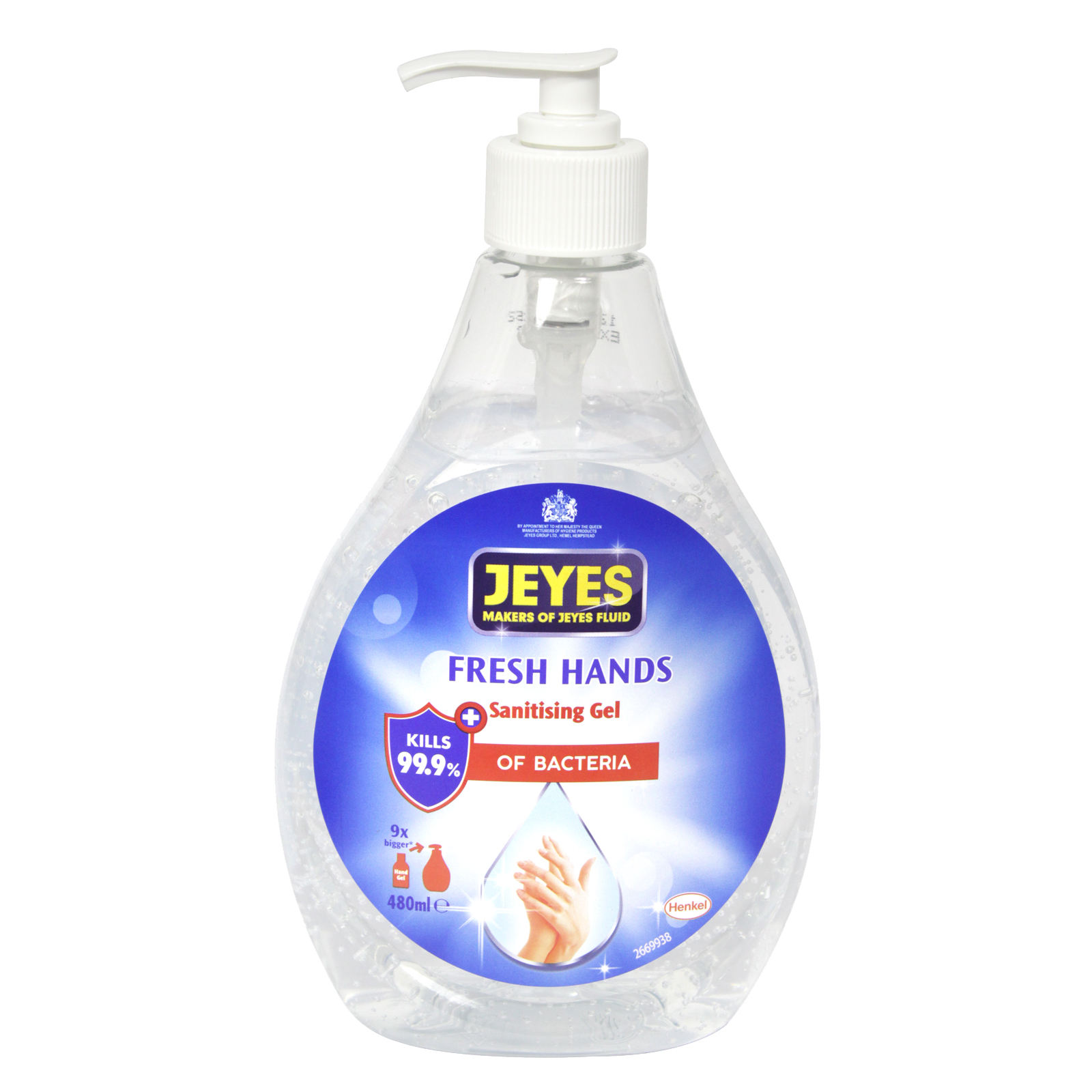 JEYES FRESH HANDS SANITISING HAND GEL 480ML PUMP 65% ALCOHOL