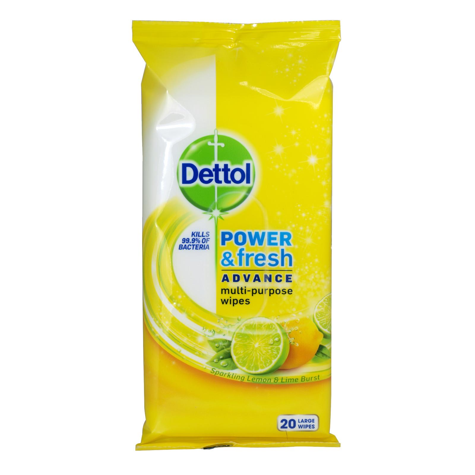 DETTOL POWER+FRESH 20 MULTI PURPOSE WIPES LEMON+LIME X10