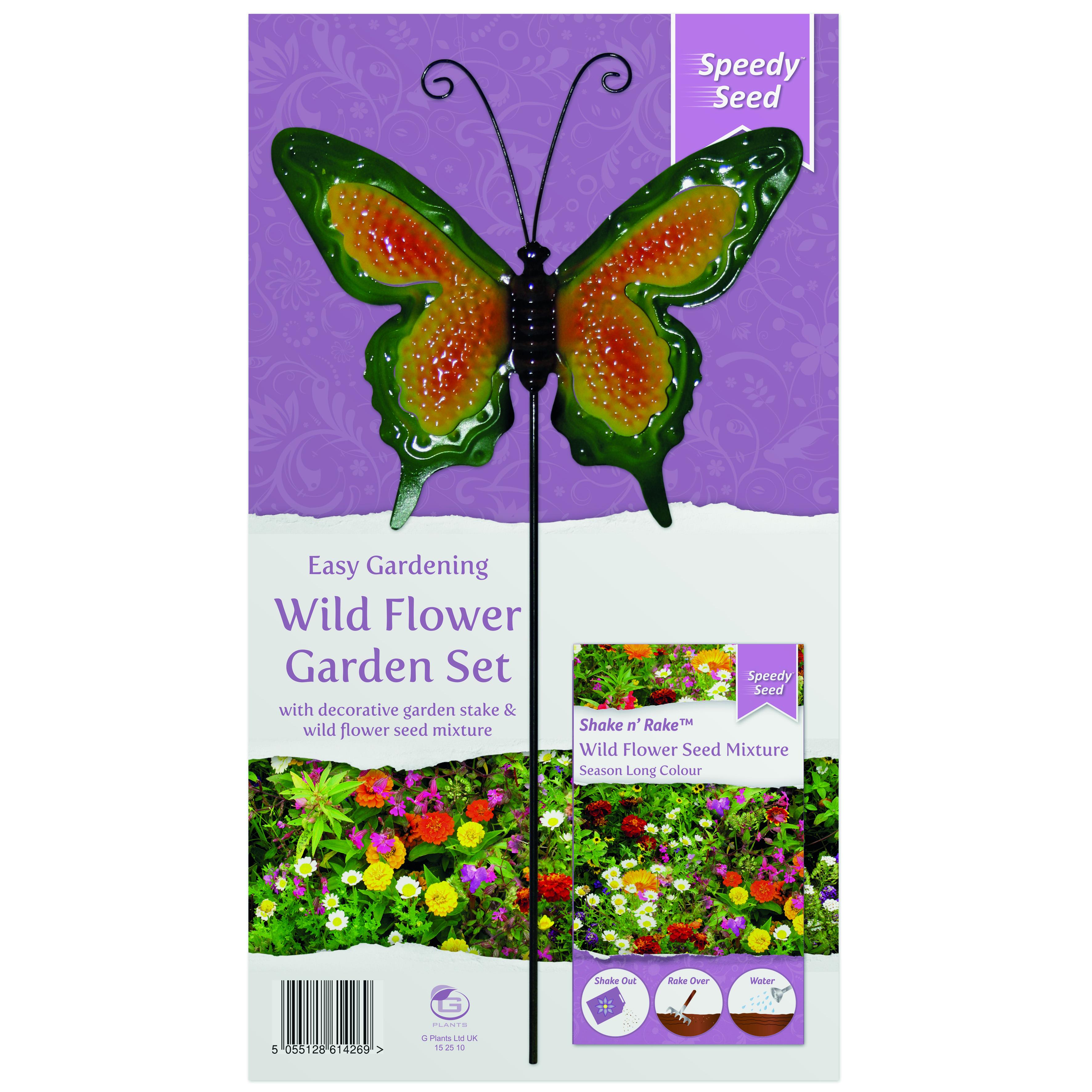 G PLANT WILDFLOWER  METAL STAKE GARDEN SET SEASON LONG