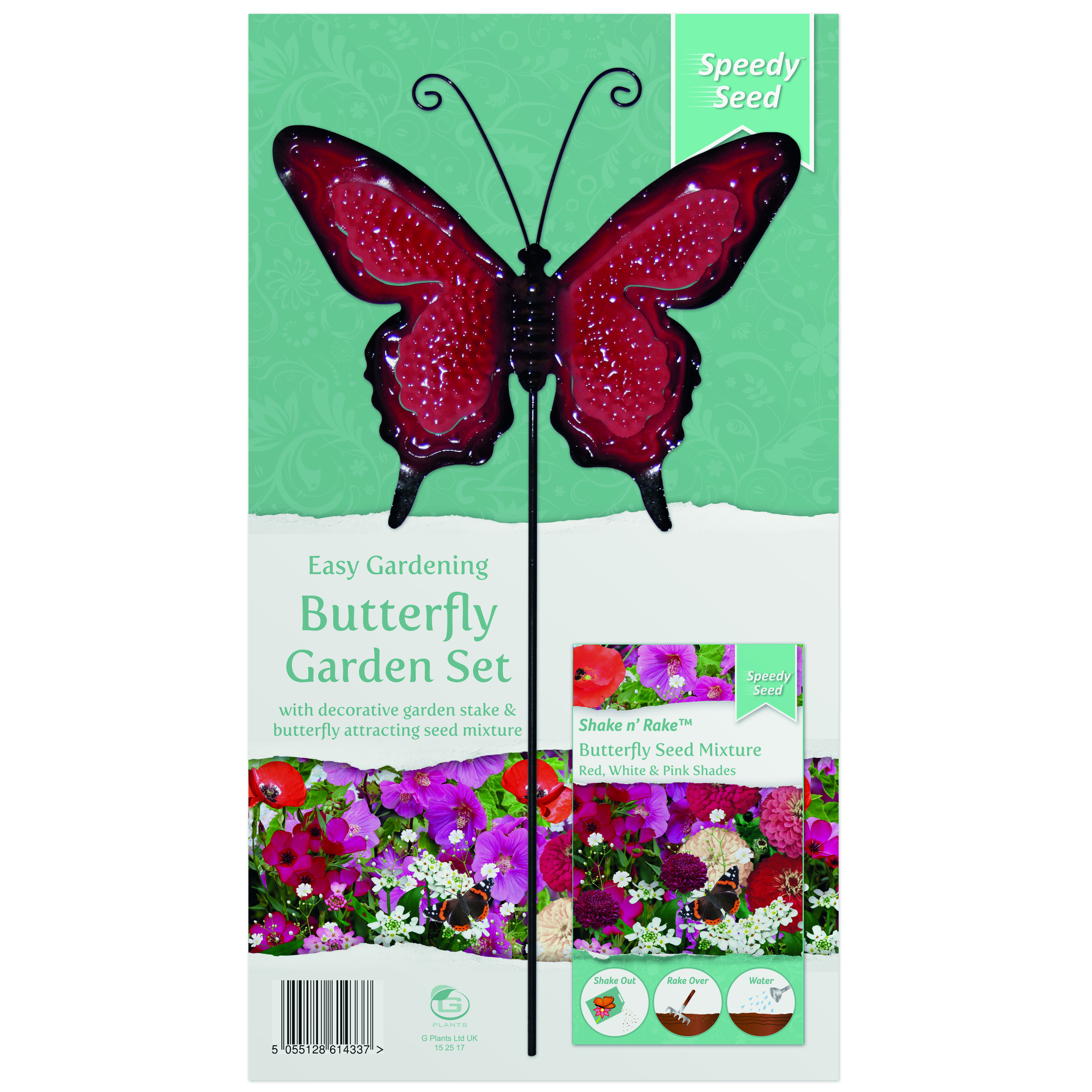 G PLANT BUTTERFLY METAL STAKE GARDEN SET RED