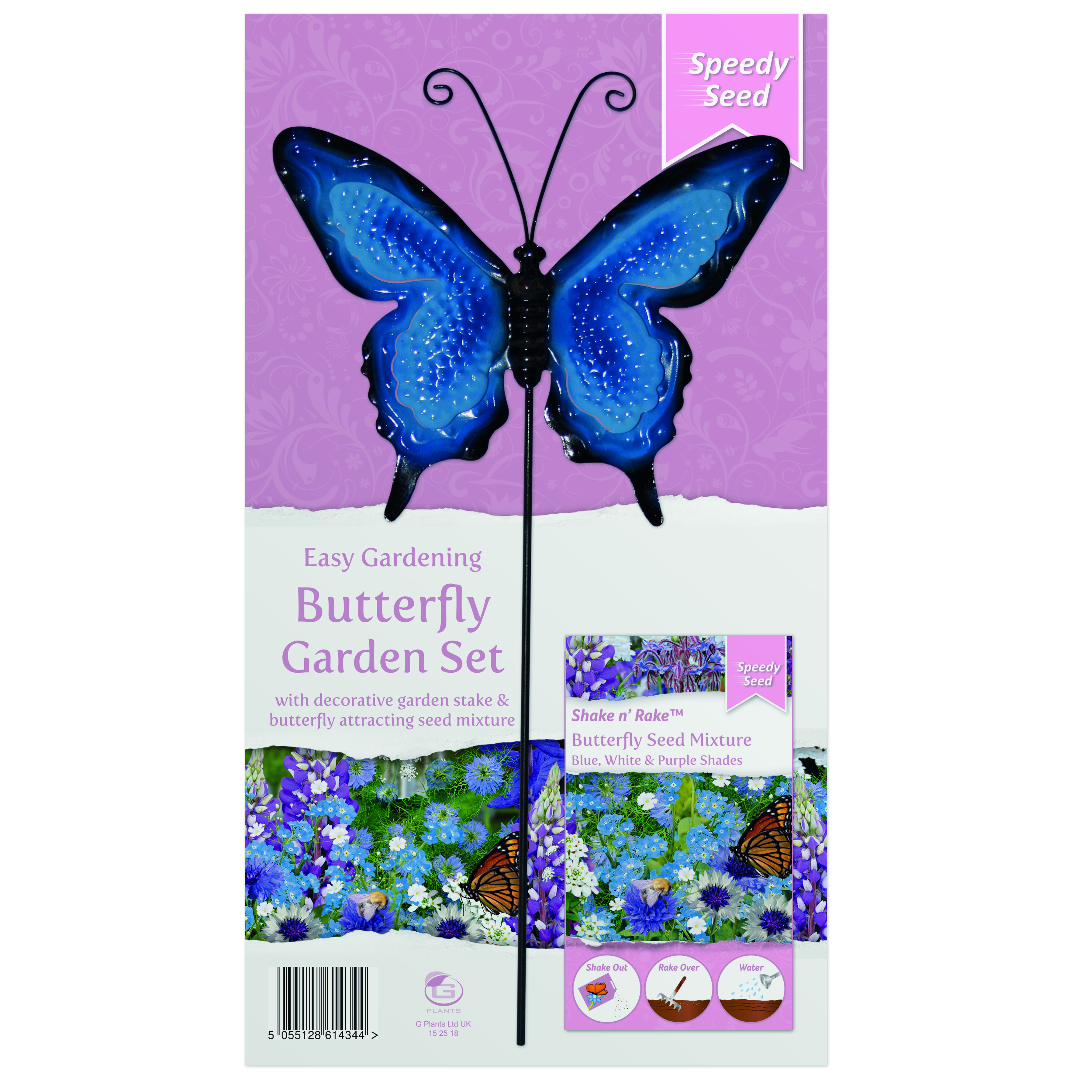 G PLANT BUTTERFLY METAL STAKE GARDEN SET BLUE