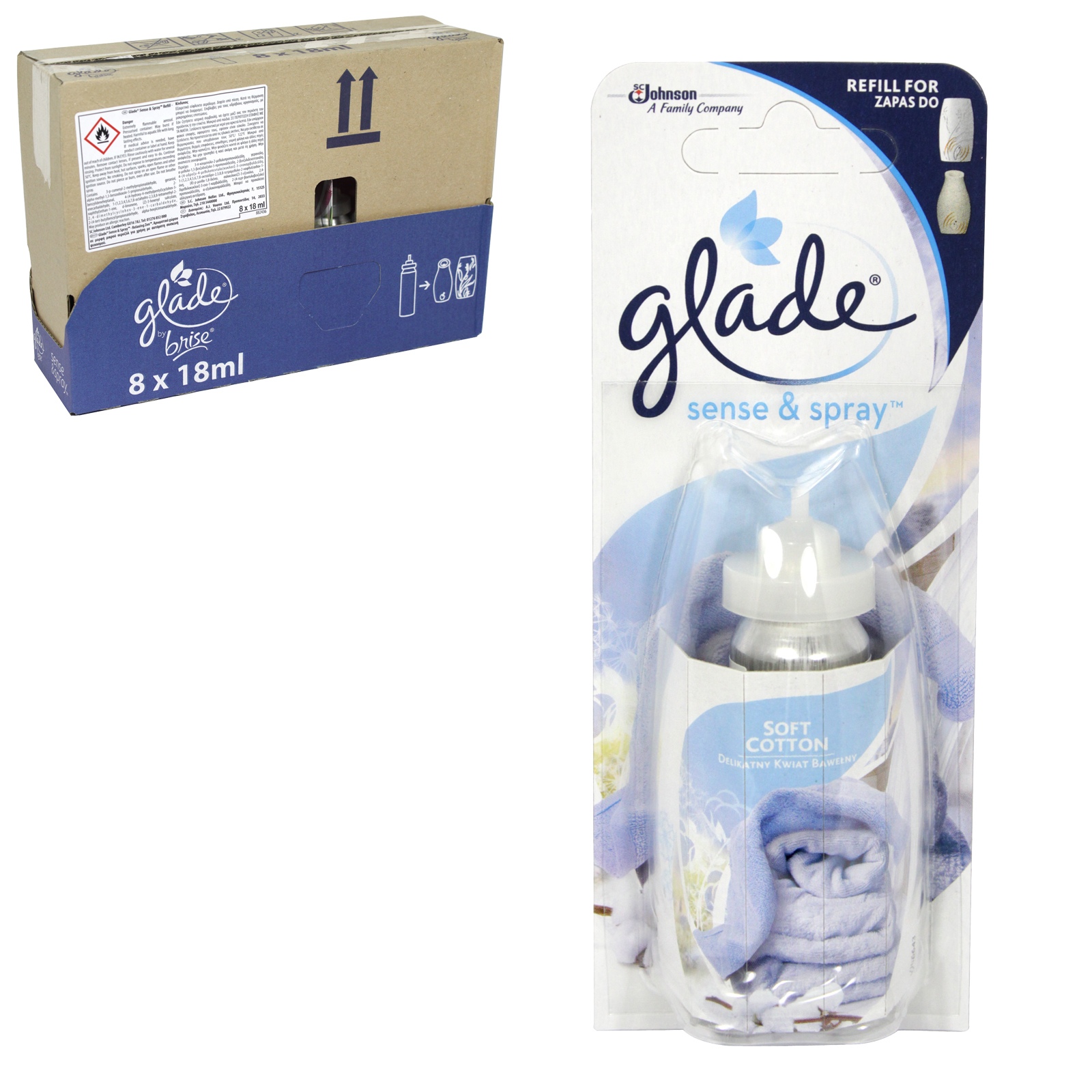 GLADE SENSE+SPRAY 18ML REFILL SOFT COTTON X8