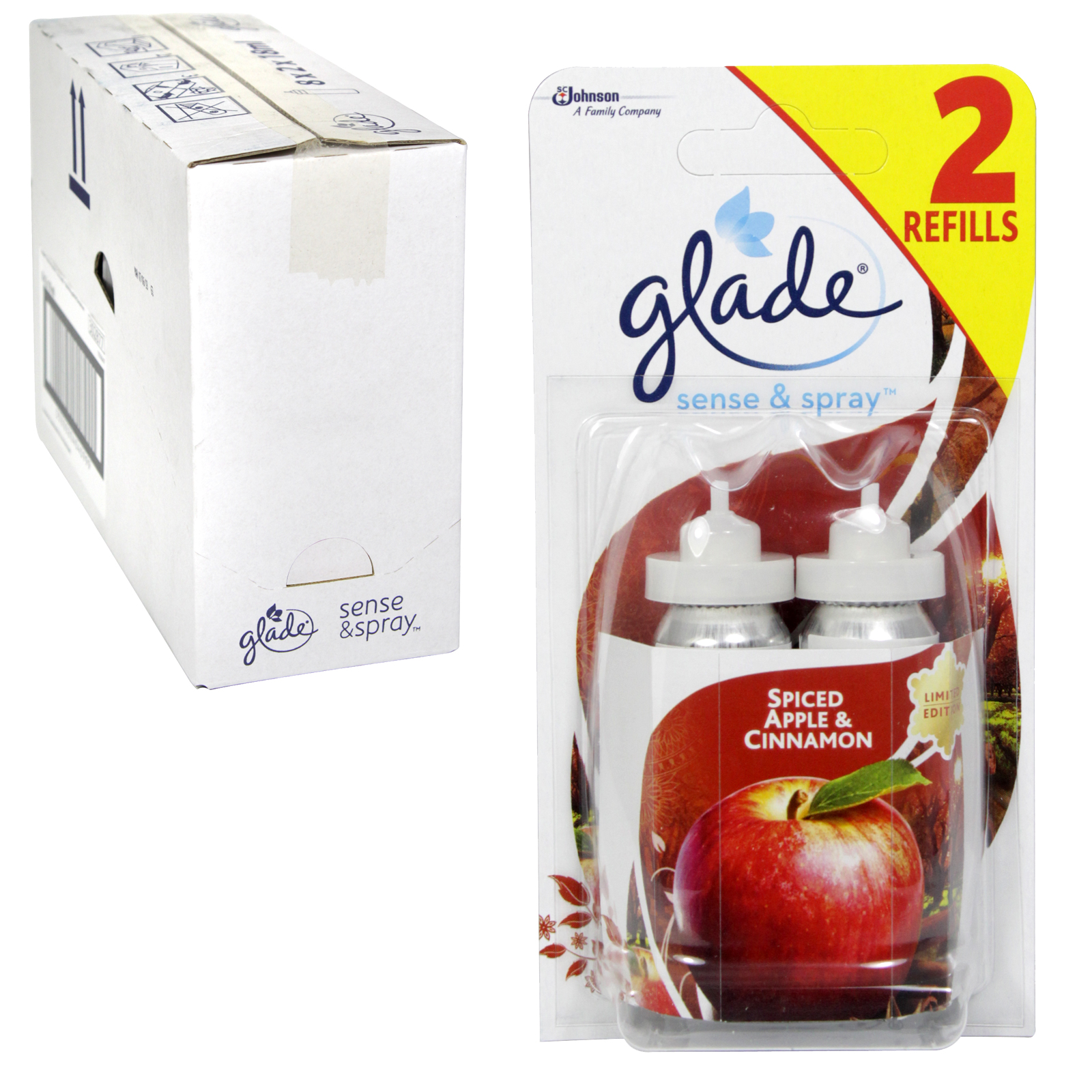 GLADE SENSE+SPRY 2X18ML REFILL APPLE+CINNAMON X8