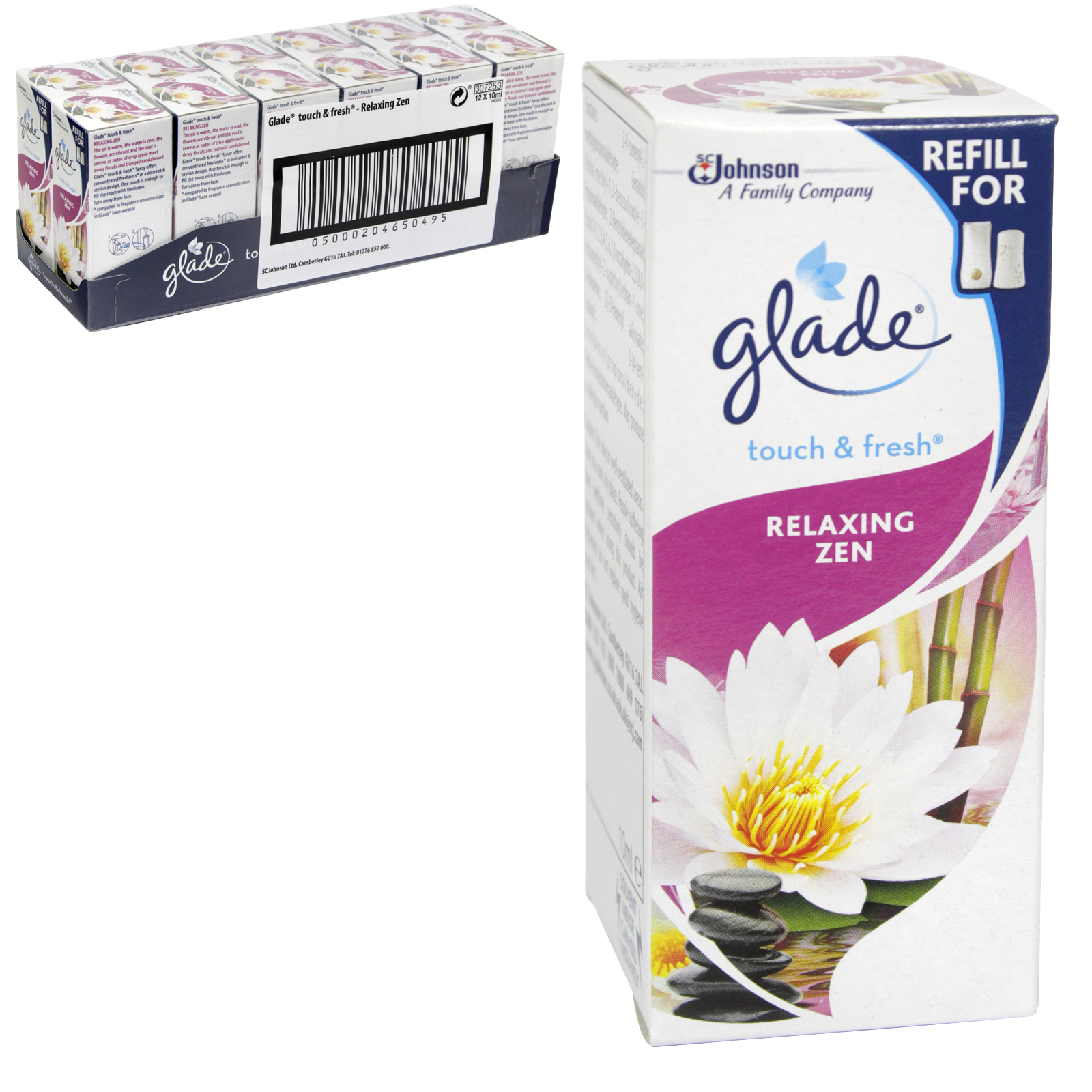 GLADE TOUCH N FRESH REFILL 10ML RELAXING ZEN X12