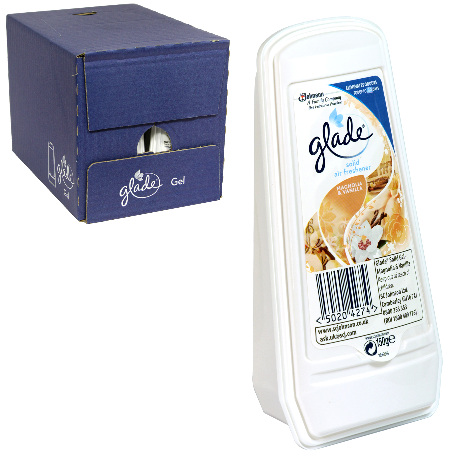 GLADE ESSENCE SOLID GEL 150GM MAGNOLIA+VANILLA X8