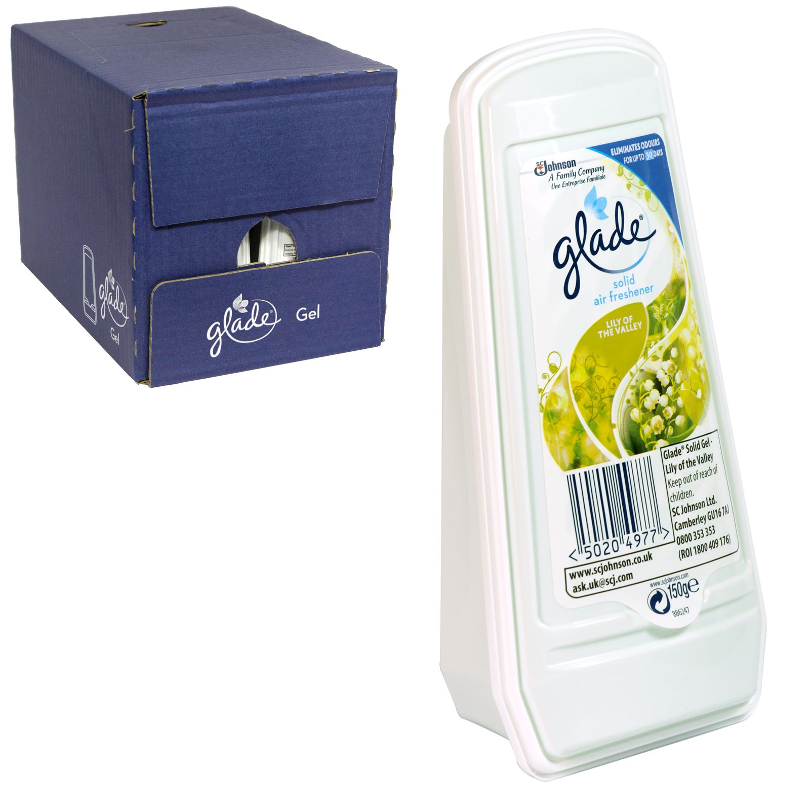 GLADE ESSENCE SOLID GEL 150GM LILY OF THE VALLEY X8