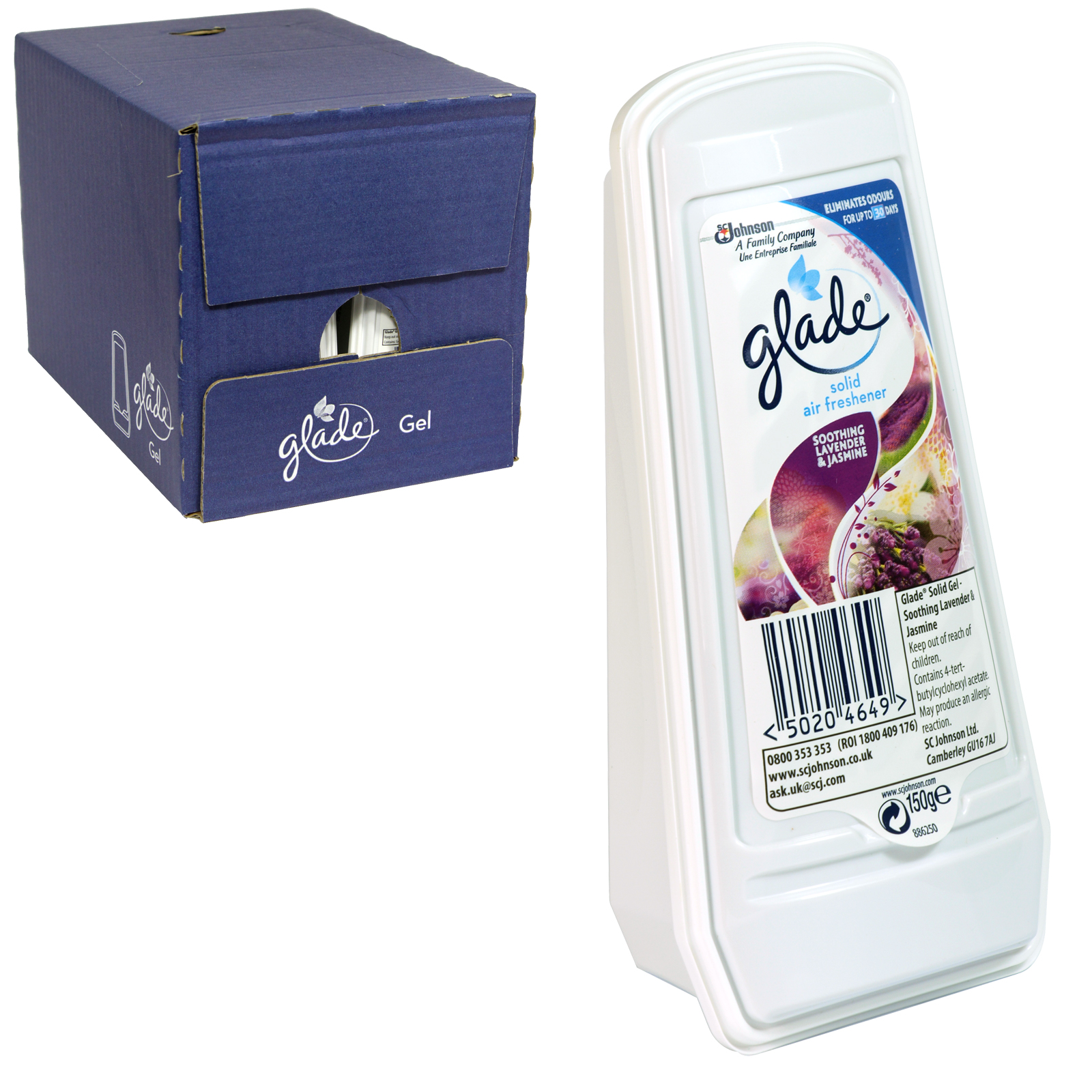 GLADE ESSENCE SOLID GEL 150GM LAVENDER+JASMINE X8