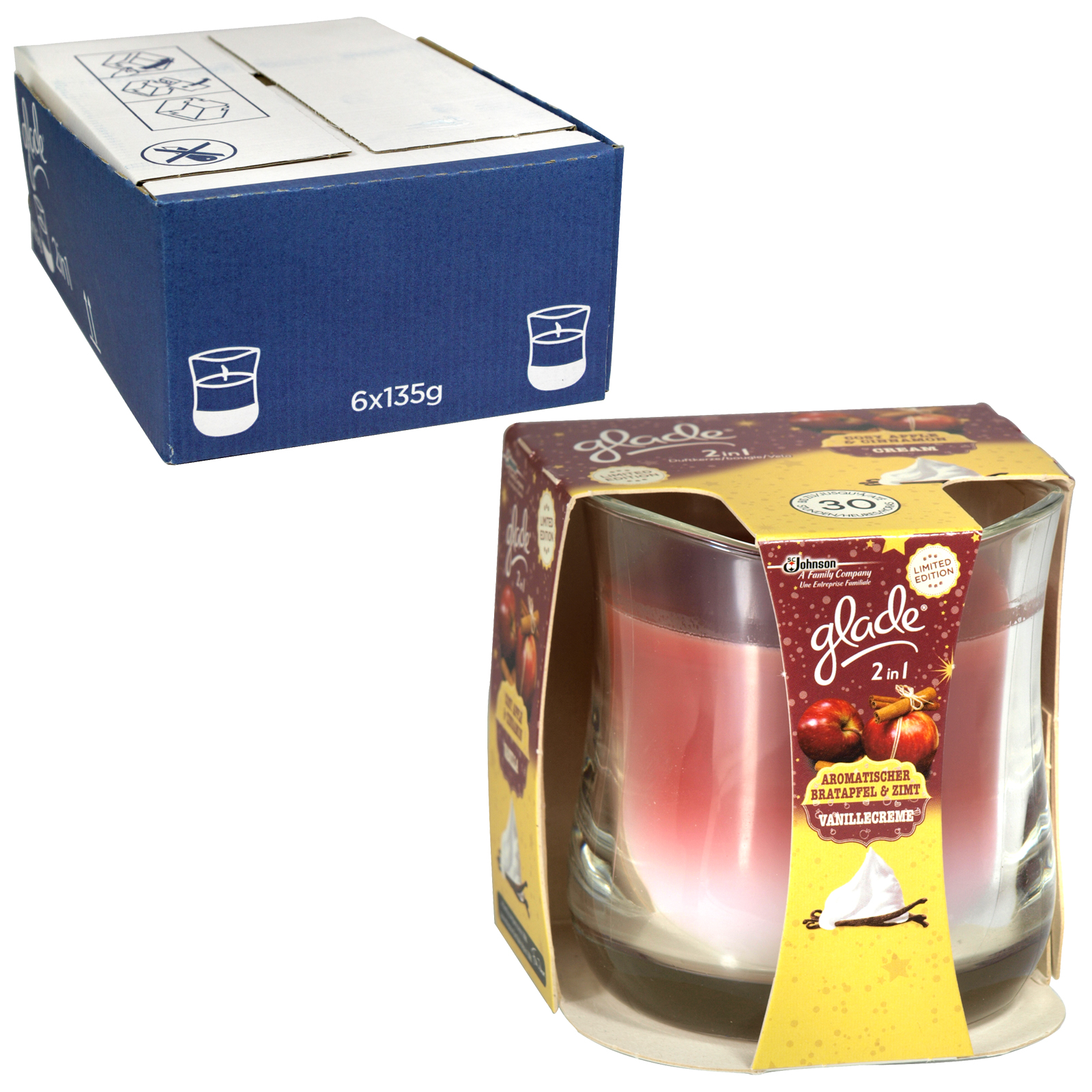 GLADE 2IN1 CANDLE COSY APPLE+CINNAMON X6