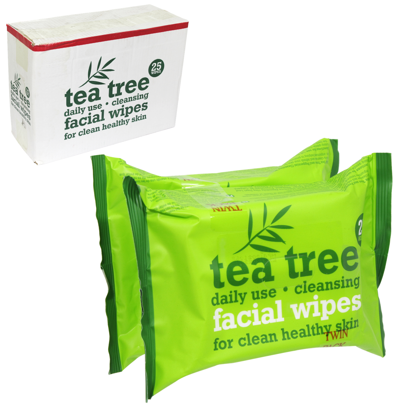 TEA TREE CLEANSING FACE WIPES 2X25S X12
