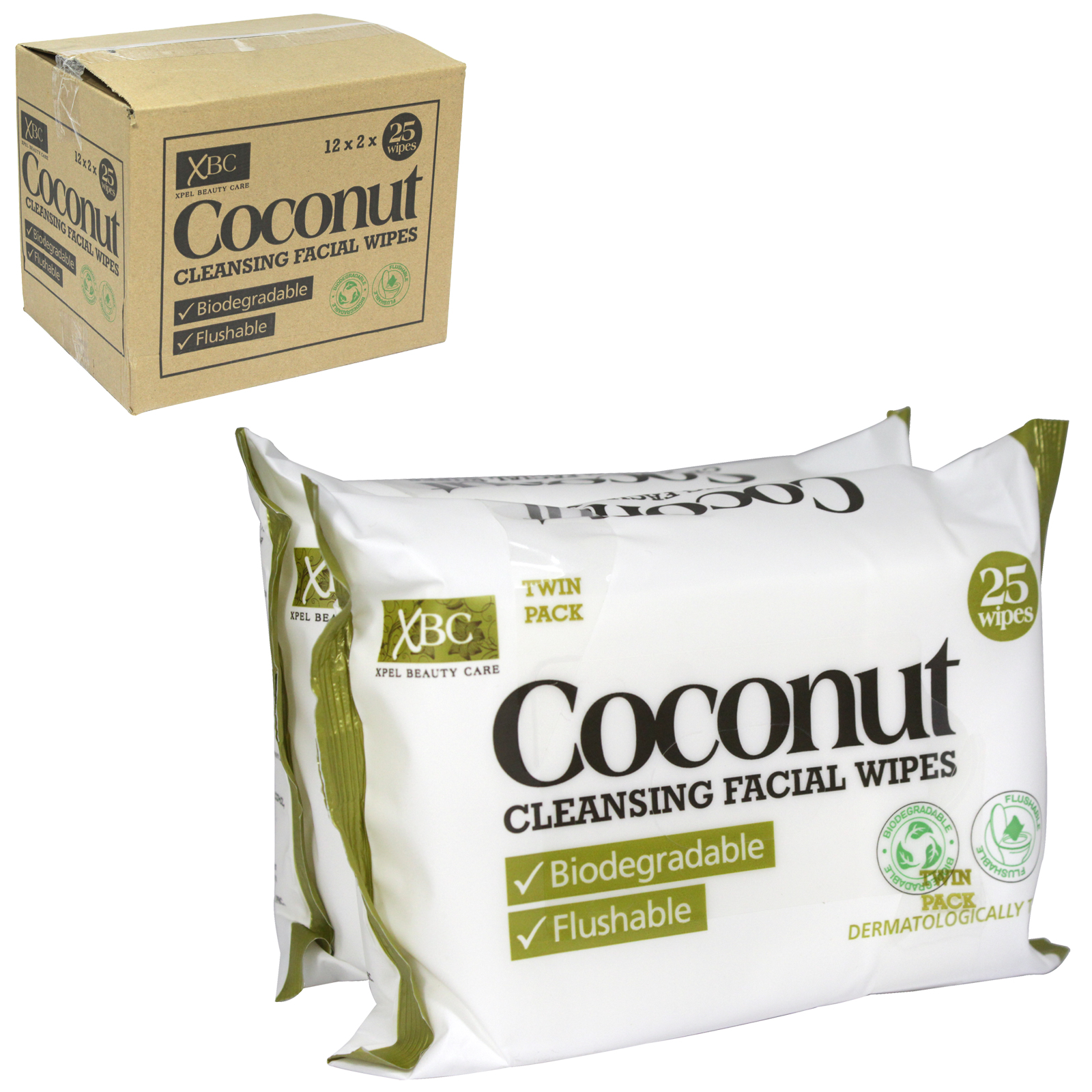 XBC COCONUT WATER HYDRATING FACE WIPES 2X25S BIODEGRADABLE AND FLUSHABLE X12